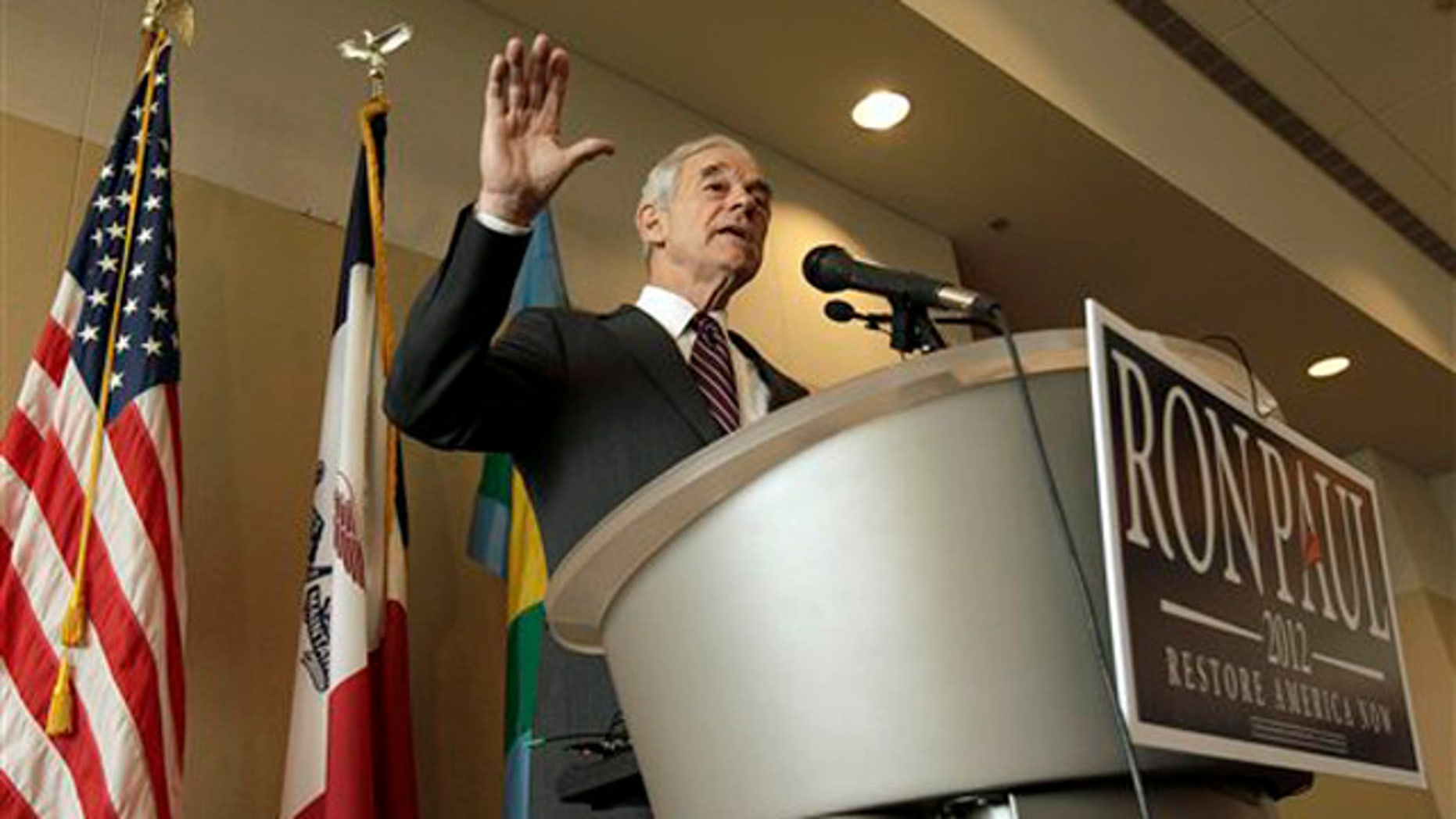 Dec. 22, 2011: Republican presidential candidate Ron Paul speaks during a campaign stop in Dubuque, Iowa.