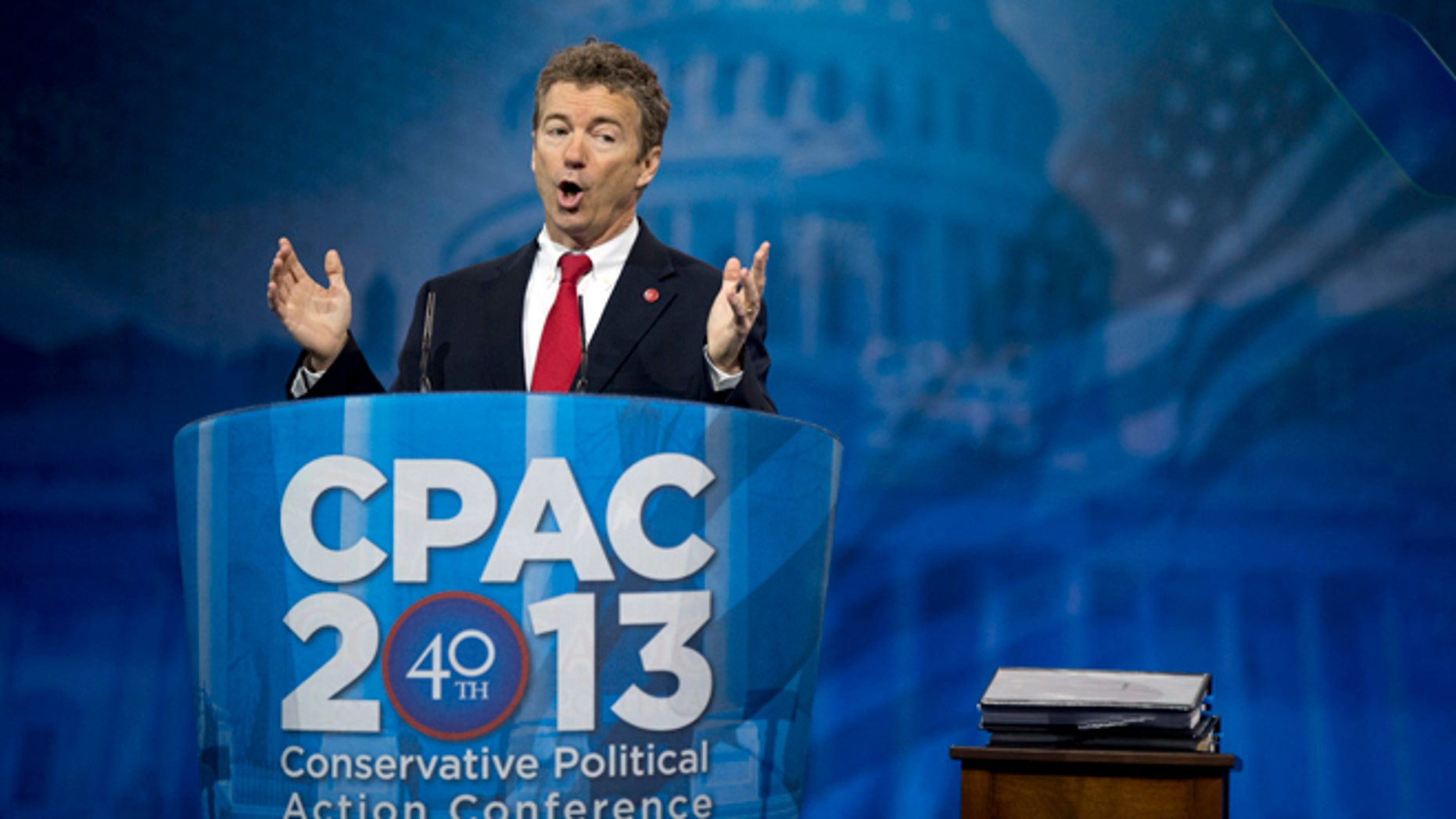 FILE: March 14, 2013: Sen. Rand Paul, R-Ky., speaks at the 40th annual Conservative Political Action Conference in National Harbor, Md.