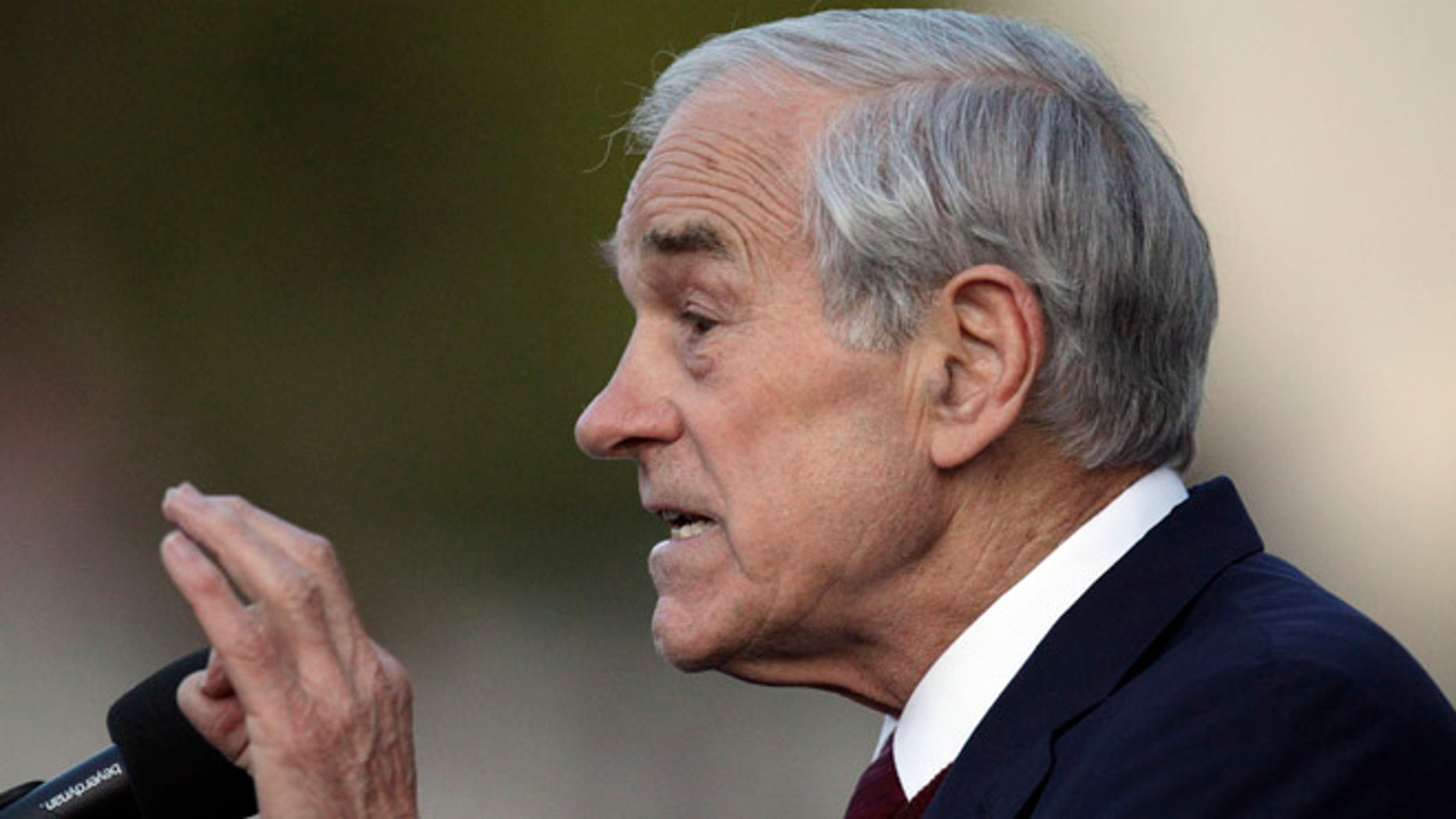April 5, 2012: Republican presidential candidate Rep. Ron Paul, R-Texas, gestures while speaking at the University of California at Berkeley, Calif.