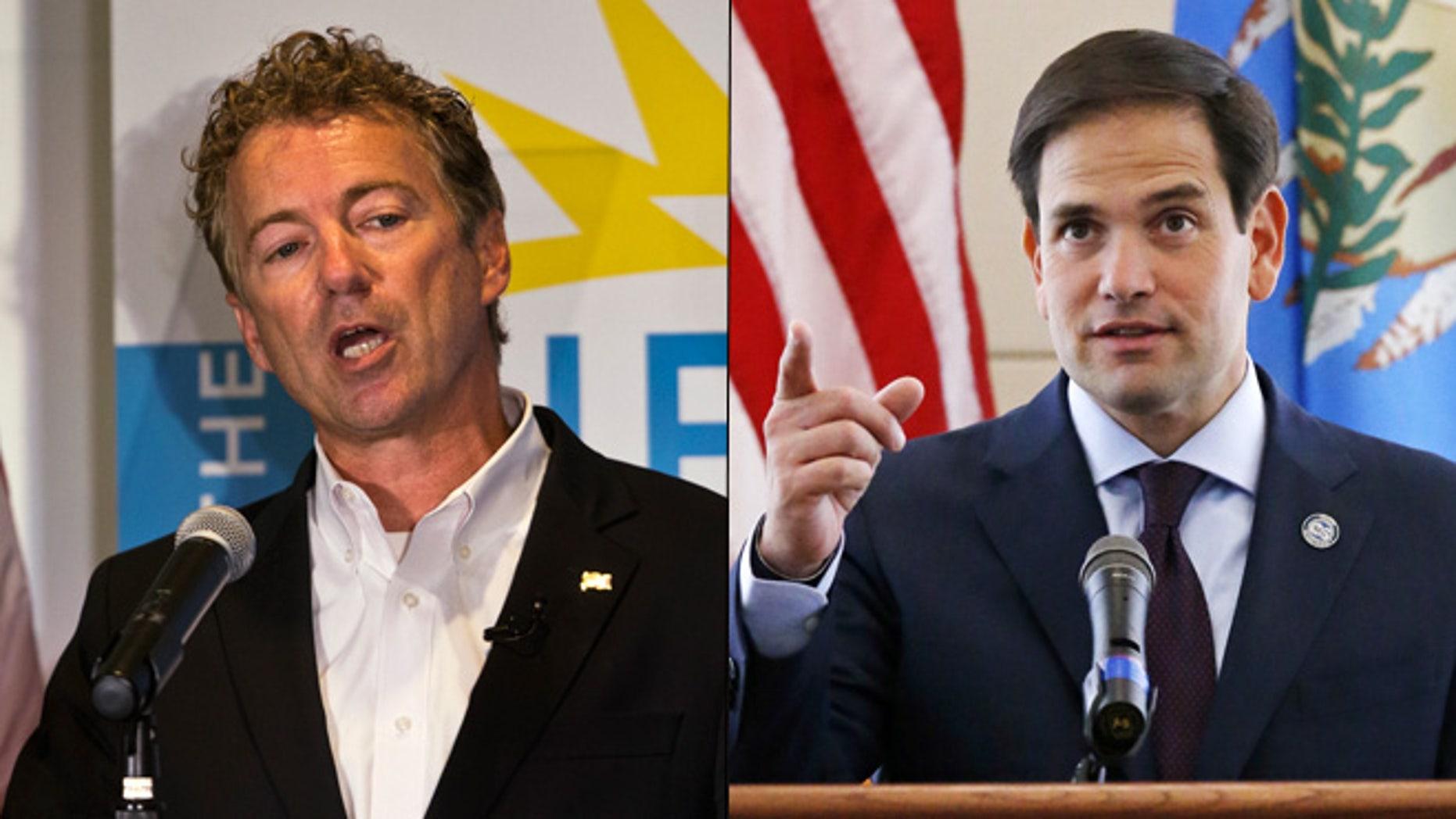 At left, Kentucky Sen. Rand Paul; at right, Florida Sen. Marco Rubio.