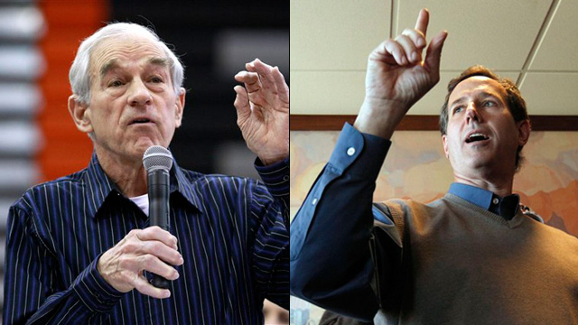 Shown here are Republican presidential candidates Ron Paul, left, and Rick Santorum.