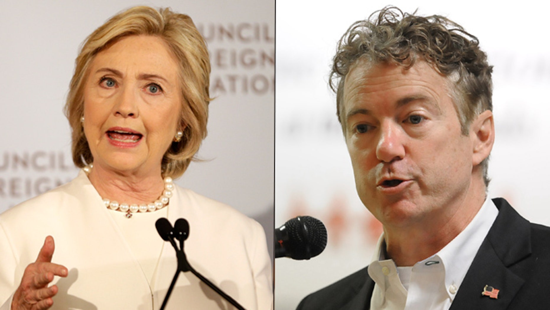 At left, Hillary Clinton; at right, Sen. Rand Paul (AP)
