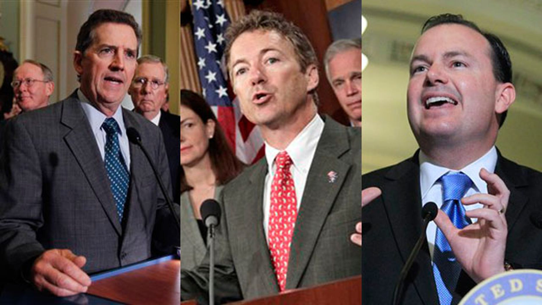 Shown here are Sens. Jim DeMint, left; Rand Paul, center; and Mike Lee.