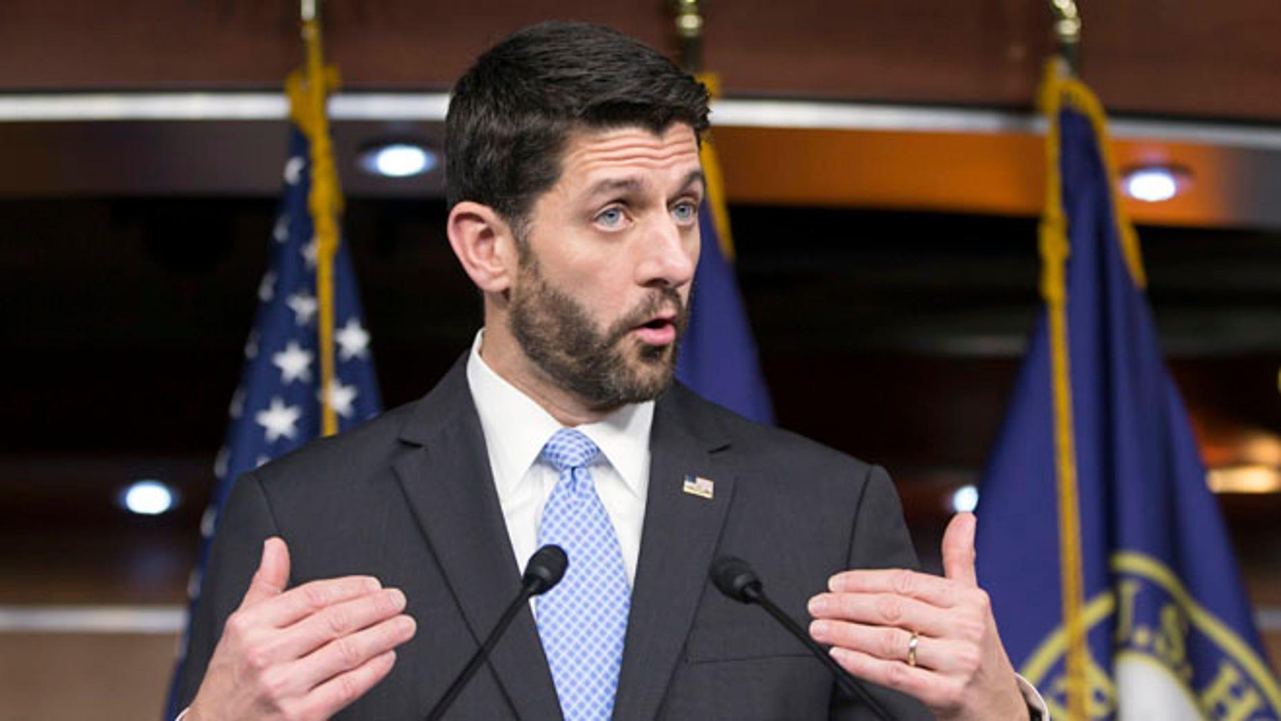 FILE: Dec. 17, 2015: House Speaker Rep. Paul Ryan, R-Wis., on Capitol Hill, Washington, D.C. (AP)