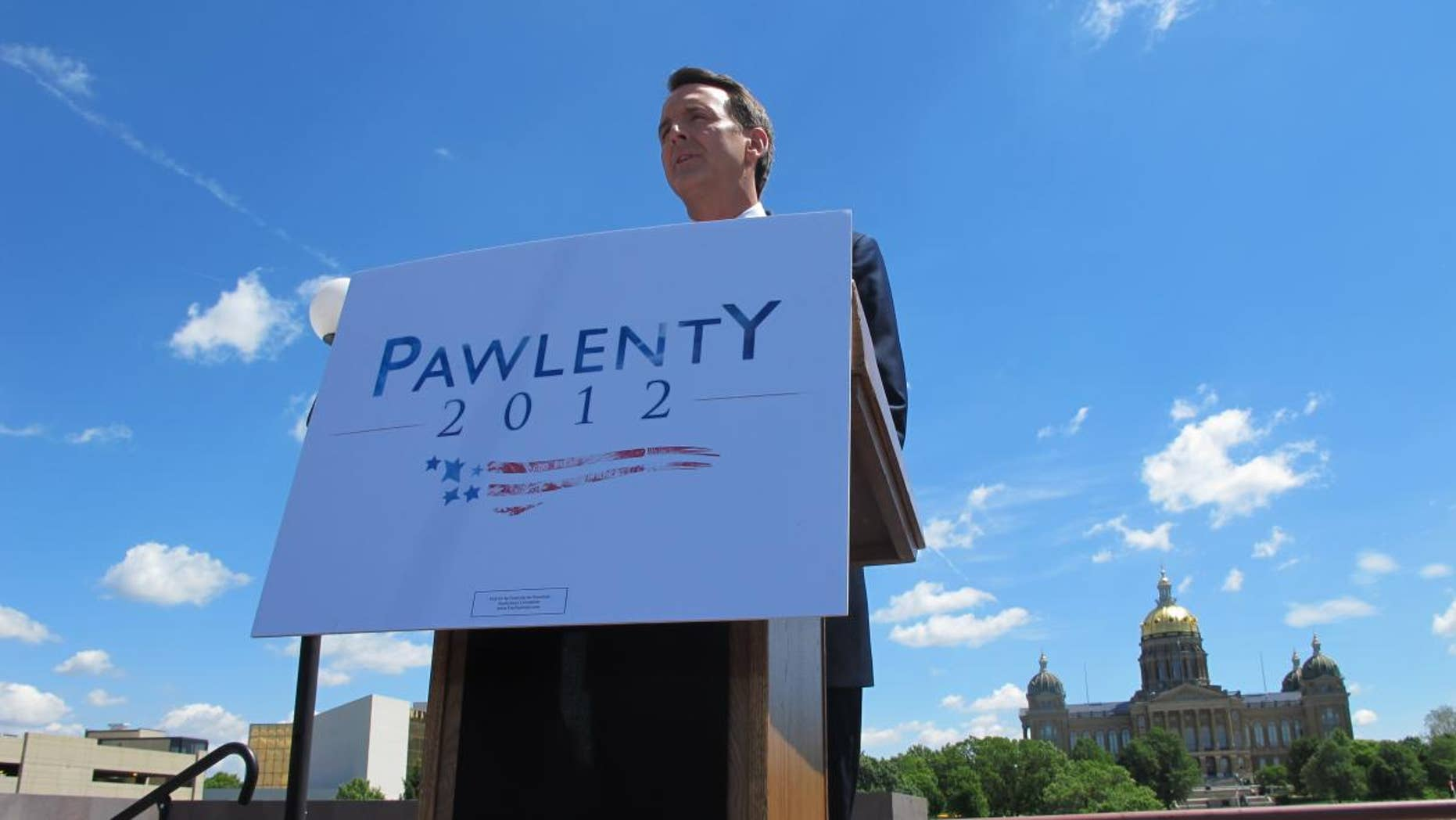 Former Gov. Tim Pawlenty announces he's running for president in Des Moines, IA Monday, May 23, 2011 (Fox News Photo)