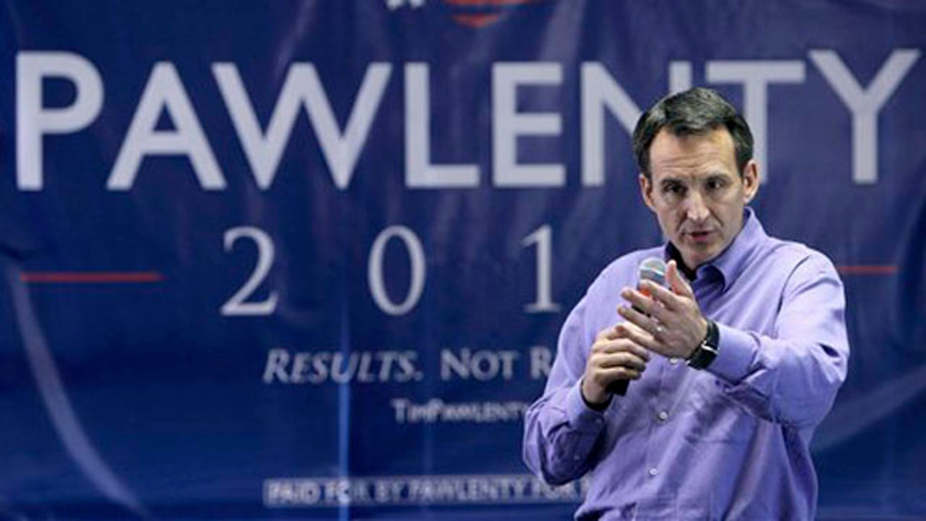 In this July 7 photo, Republican presidential candidate Tim Pawlenty speaks in Urbandale, Iowa.
