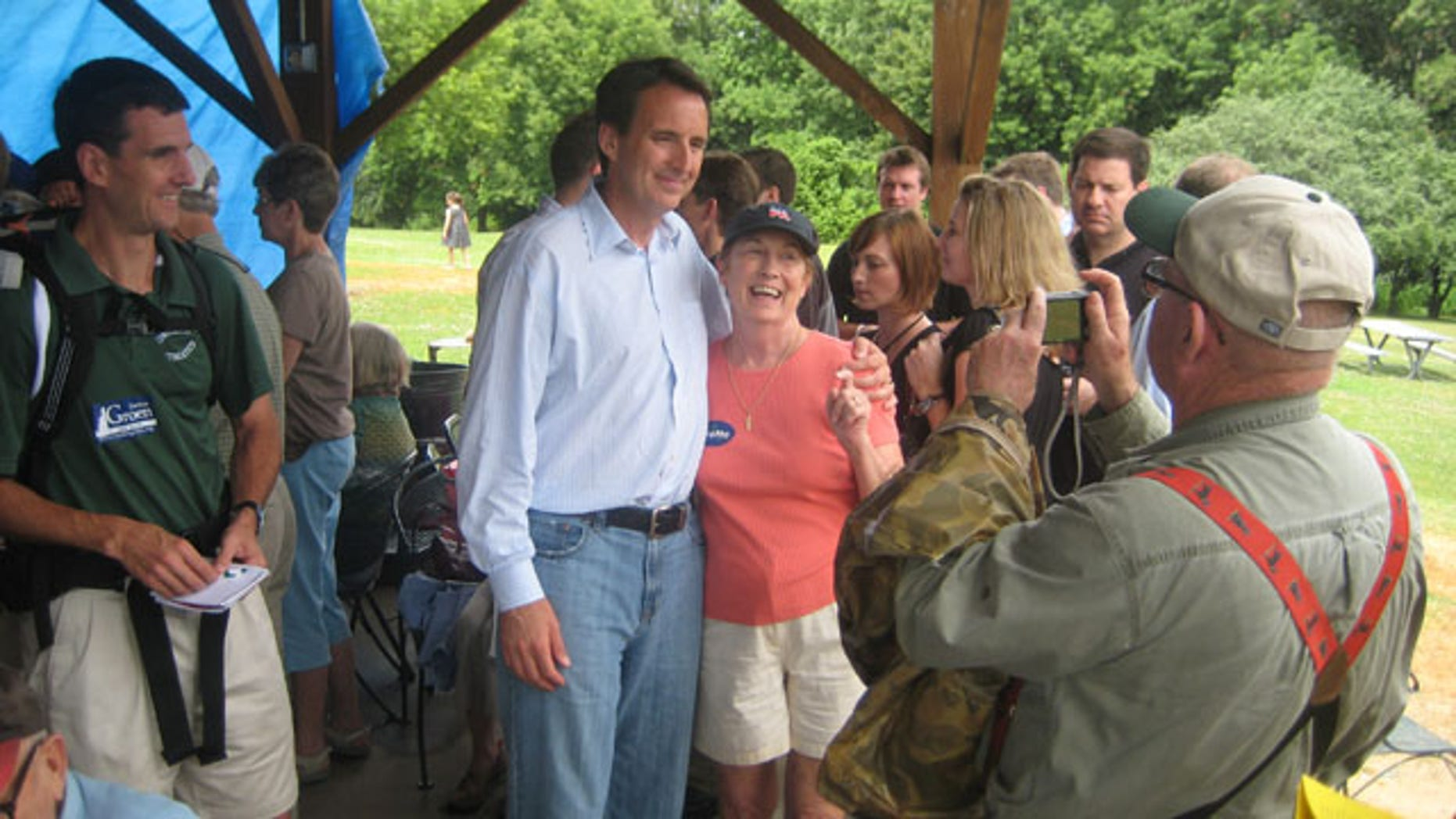 Minnesota Gov. Tim Pawlenty is shown posing for pictures at the Strafford County GOP picnic in New Hampshire on July 10. (FNC)