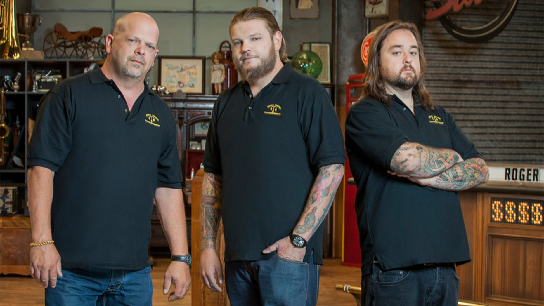 """From left, """"Pawn Stars'"""" Rick Harrison, Corey Harrison, and Chumlee."""