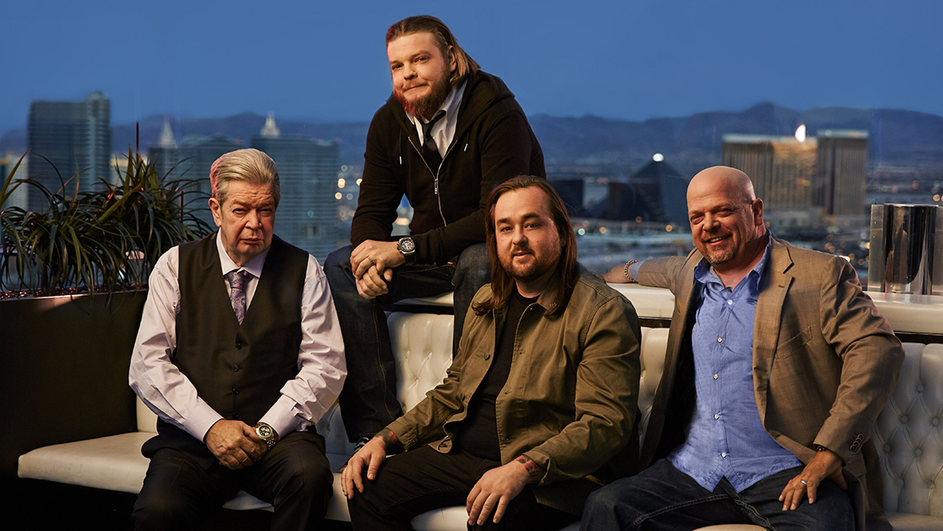 """From left to right: The Old Man, Corey, Chumlee and Rick of """"Pawn Stars""""."""