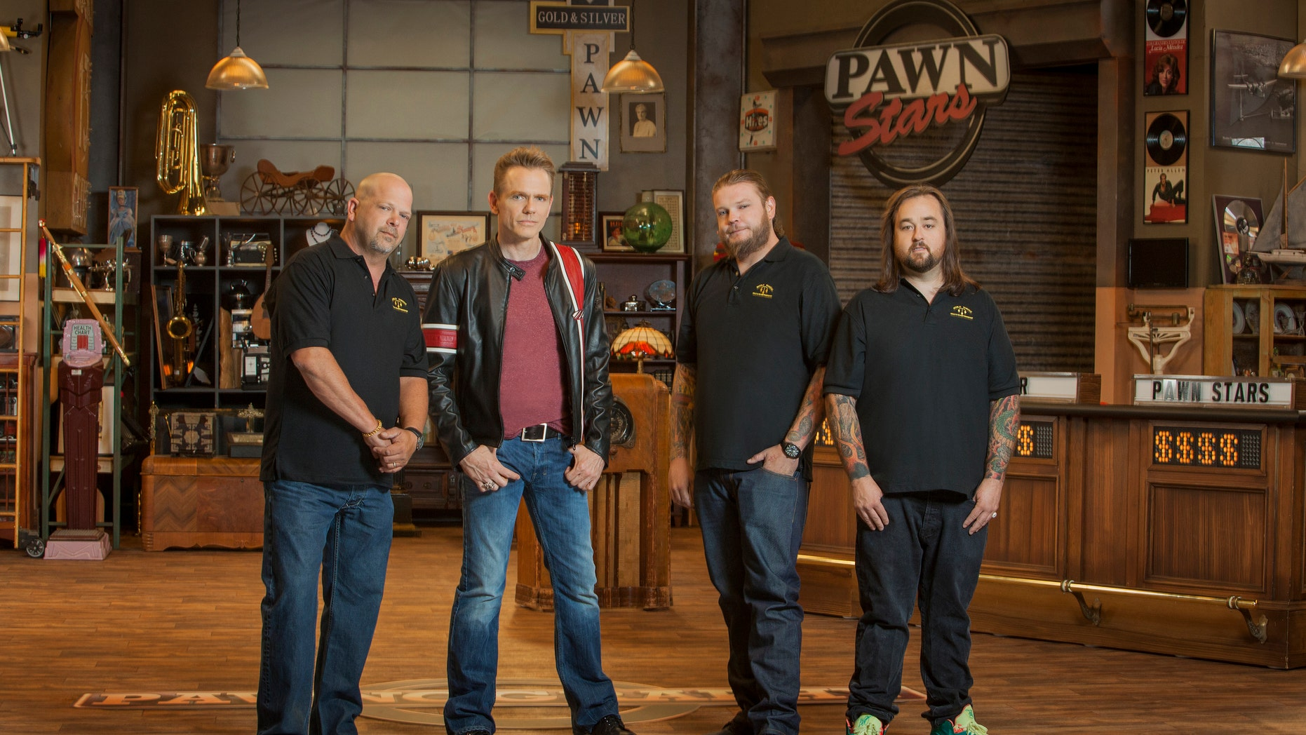 "Chris Harrison, comedian Christopher Titus, Corey Harrison and Chumlee Harrison from ""Pawnography."""