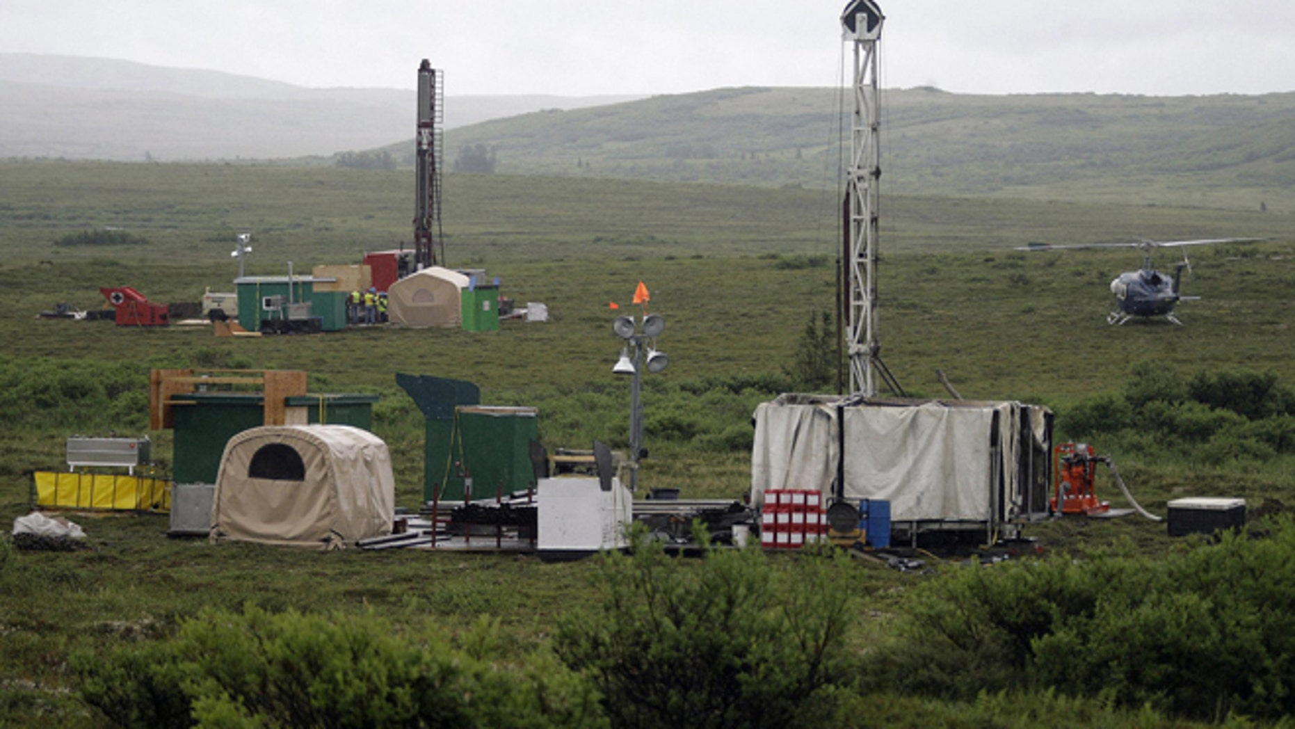 Workers with the Pebble Mine project test drill in the Bristol Bay region near the village of Iliamma.
