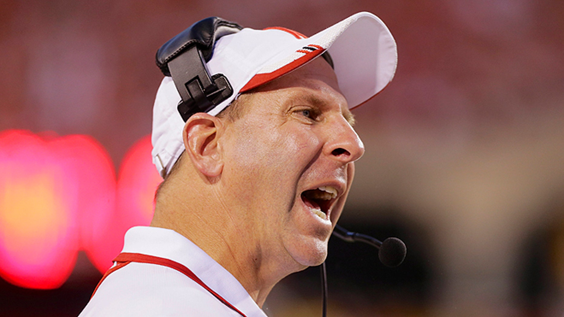 Sept. 7, 2013: Nebraska head coach Bo Pelini yells instructions in the second half of an NCAA college football game against Southern Mississippi in Lincoln, Neb. Nebraska Chancellor Harvey Perlman and athletic director Shawn Eichorst say they believe football coach Bo Pelini is sincere in his apology for a profane rant against fans two years ago and the university is ready to put the matter to rest. (AP/Nati Harnik, File)