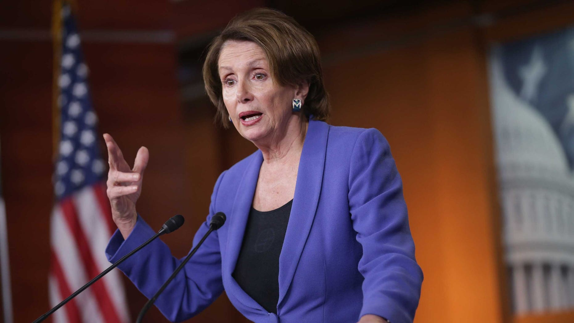 WASHINGTON, DC - FEBRUARY 12:  House Minority Leader Nancy Pelosi (D-CA) holds her weekly news conference in the Capitol Visitors Center at the U.S. Captiol February 12, 2015 in Washington, DC. Pelosi said President Barack Obama's request for the authorization of the use of military force against the group calling itself the Islamic State is a rare document because it actually calls for a limitation in the president's authority to command U.S. forces.  (Photo by Chip Somodevilla/Getty Images)
