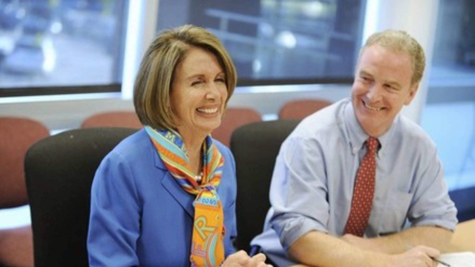 Tuesday: House Speaker Nancy Pelosi and Democratic Congressional Campaign Committee Chairman Chris Van Hollen talk to reporters at Democratic National Committee headquarters in Washington.