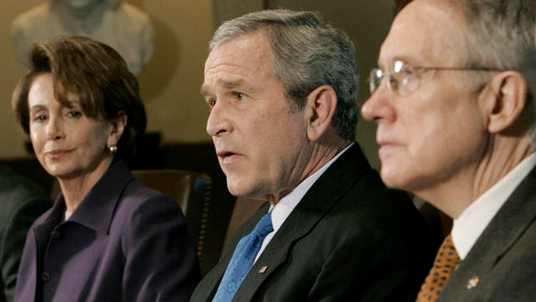 House Speaker Nancy Pelosi,  President George W. Bush, and Senate Majority Leader Harry Reid during a meeting at the White House, April 18, 2007. (AP)