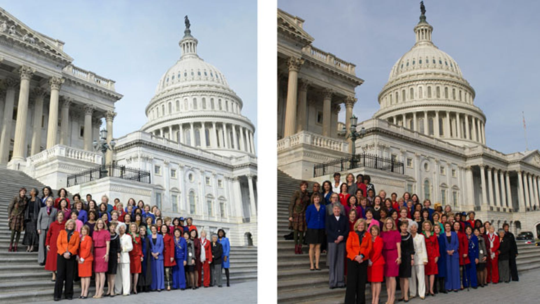 This combo of two photos shows, at left, an Associated Press photo taken Jan. 3, 2013 of female Democratic House members on Capitol Hill, and at right, a screen grab from Rep. Nancy Pelosi's Flickr page of an altered photo. Four additional members who were late to the original shoot were added in the back row.