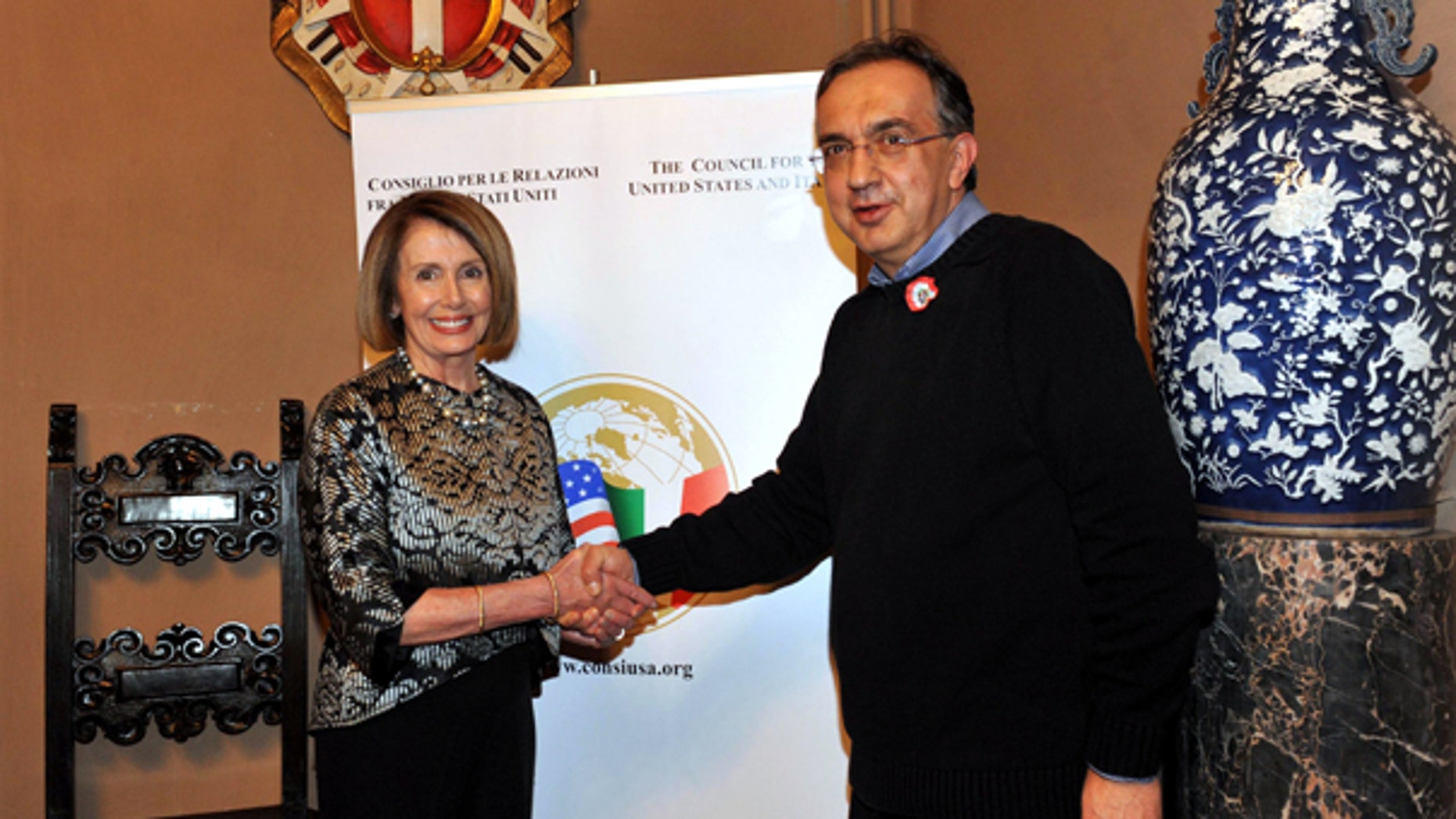 Friday: House Minority Leader Nancy Pelosi shakes hands with Sergio Marchionne, CEO of Fiat S.p.A. and Chrysler Group LLC, on the occasion of the annual dinner of the Council for the United States and Italy, in Rome.