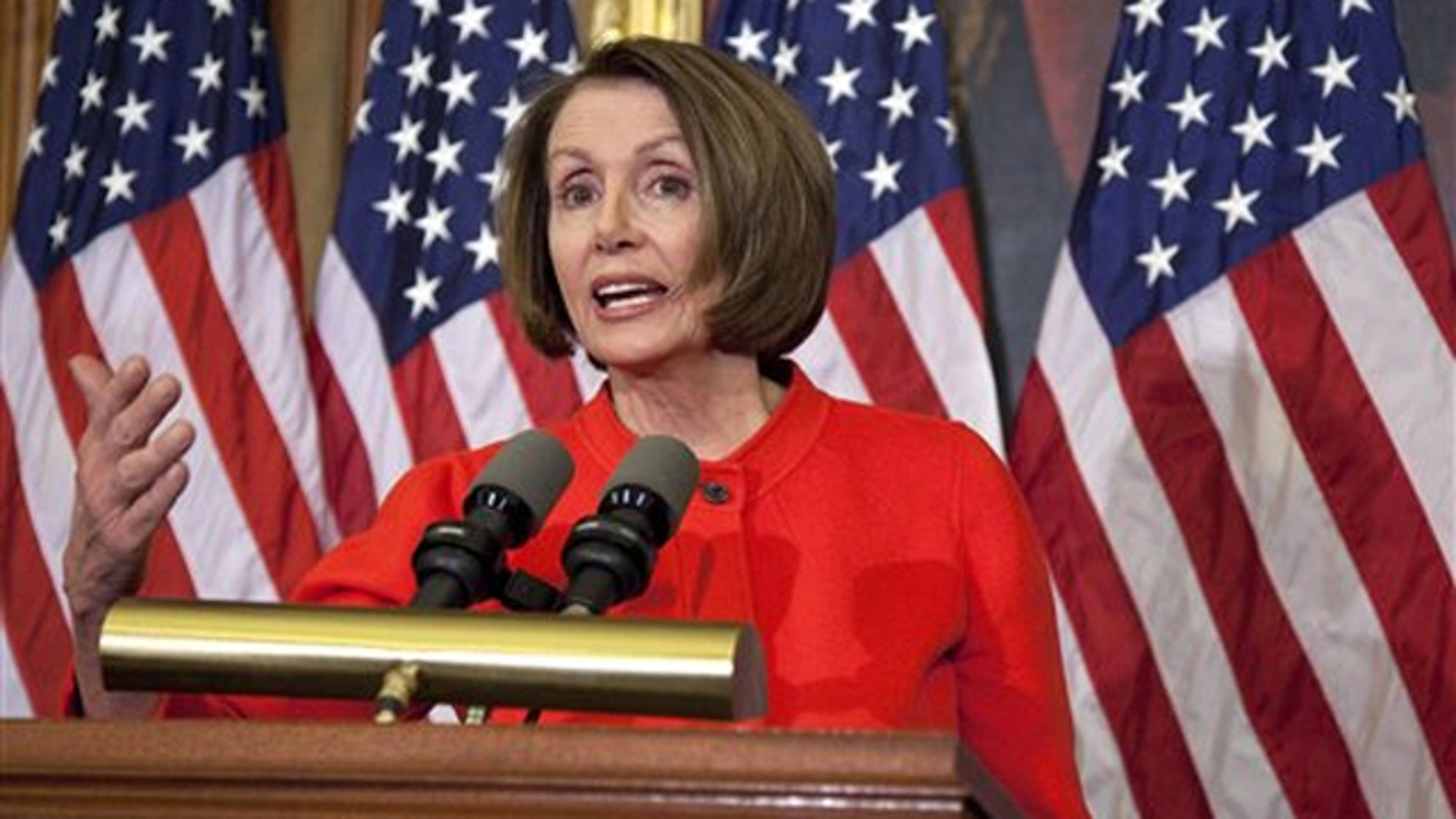 In this Dec. 15 file photo, outgoing House Speaker Nancy Pelosi gestures during a news conference.