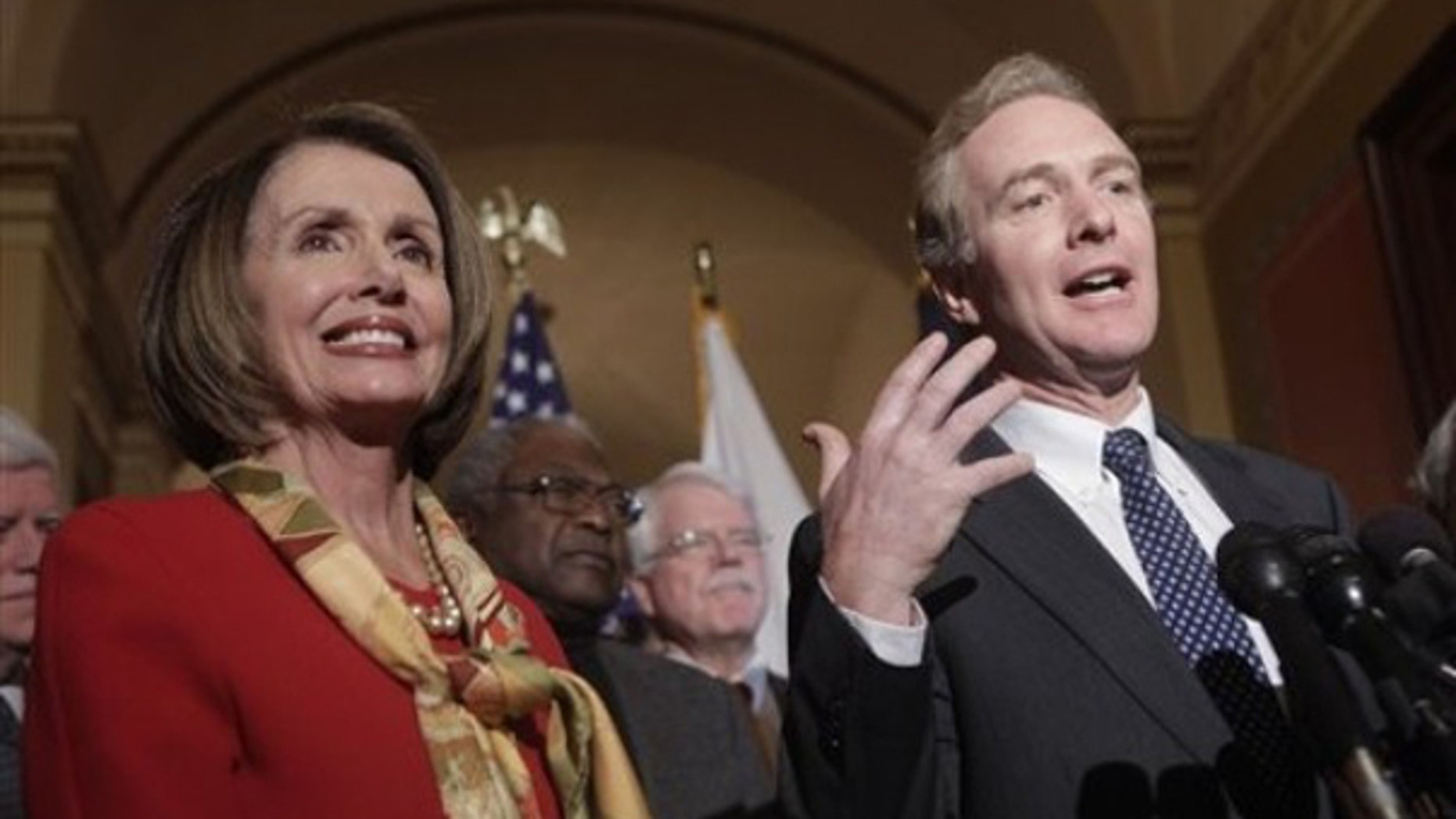 Jan. 5: Rep. Chris Van Hollen and House Speaker Nancy Pelosi speak at a news conference to discuss health care legislation. (AP Photo)