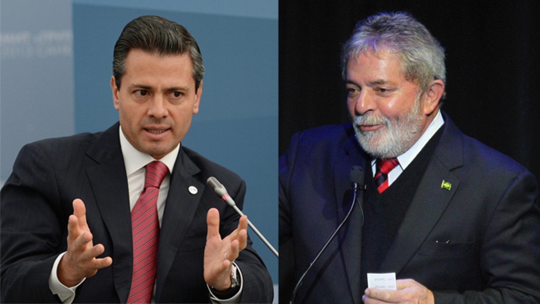 Mexican President Enrique Peña Nieto (Right), Former Brazilian President Luiz Inácio Lula da Silva (Left)