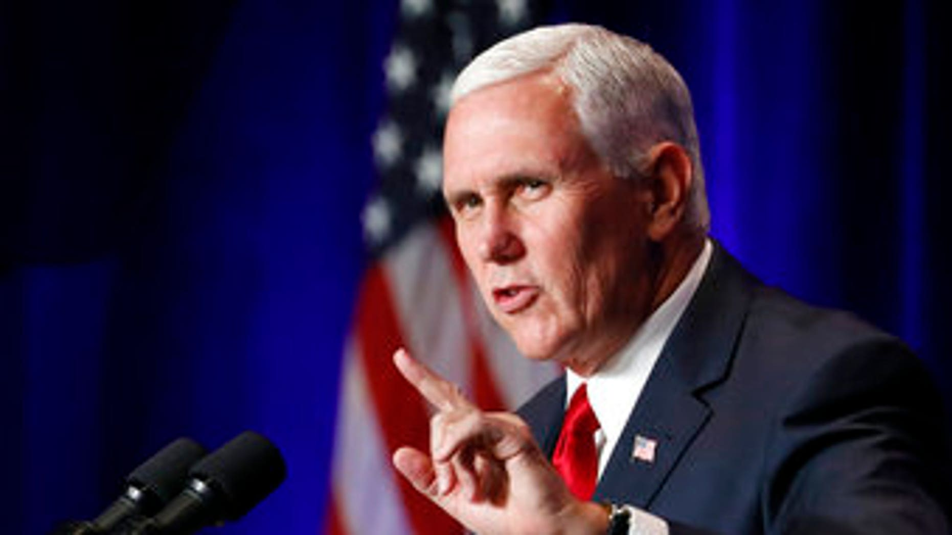 Vice President Mike Pence speaks at the Young America's Foundation's 39th annual National Conservative Student Conference, Friday, Aug. 4, 2017, in Washington. (AP Photo/Alex Brandon)