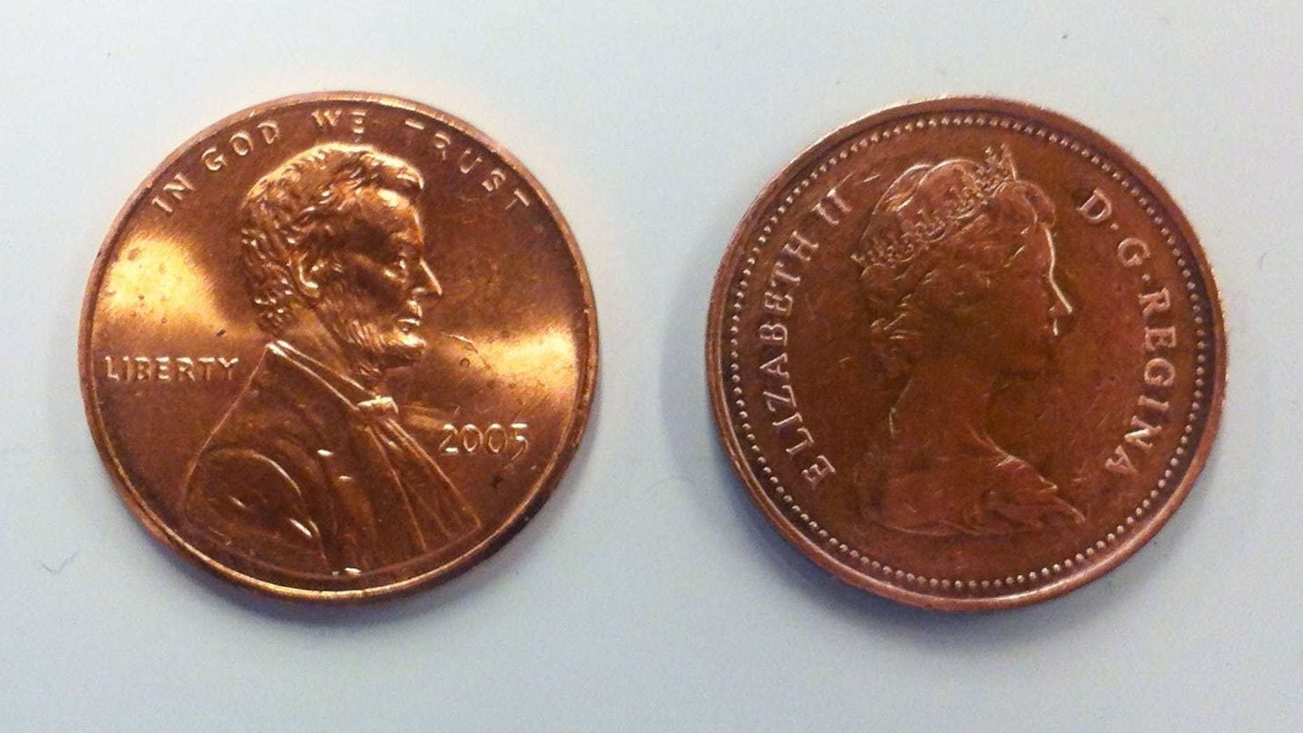A U.S. and a Canada penny