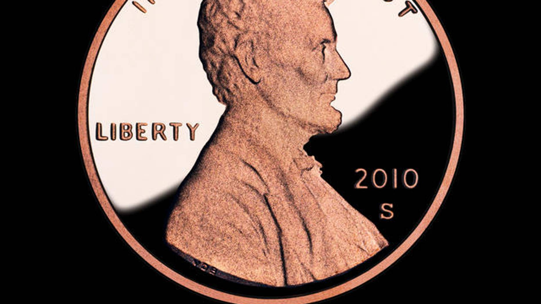 Lincoln one-cent coin.