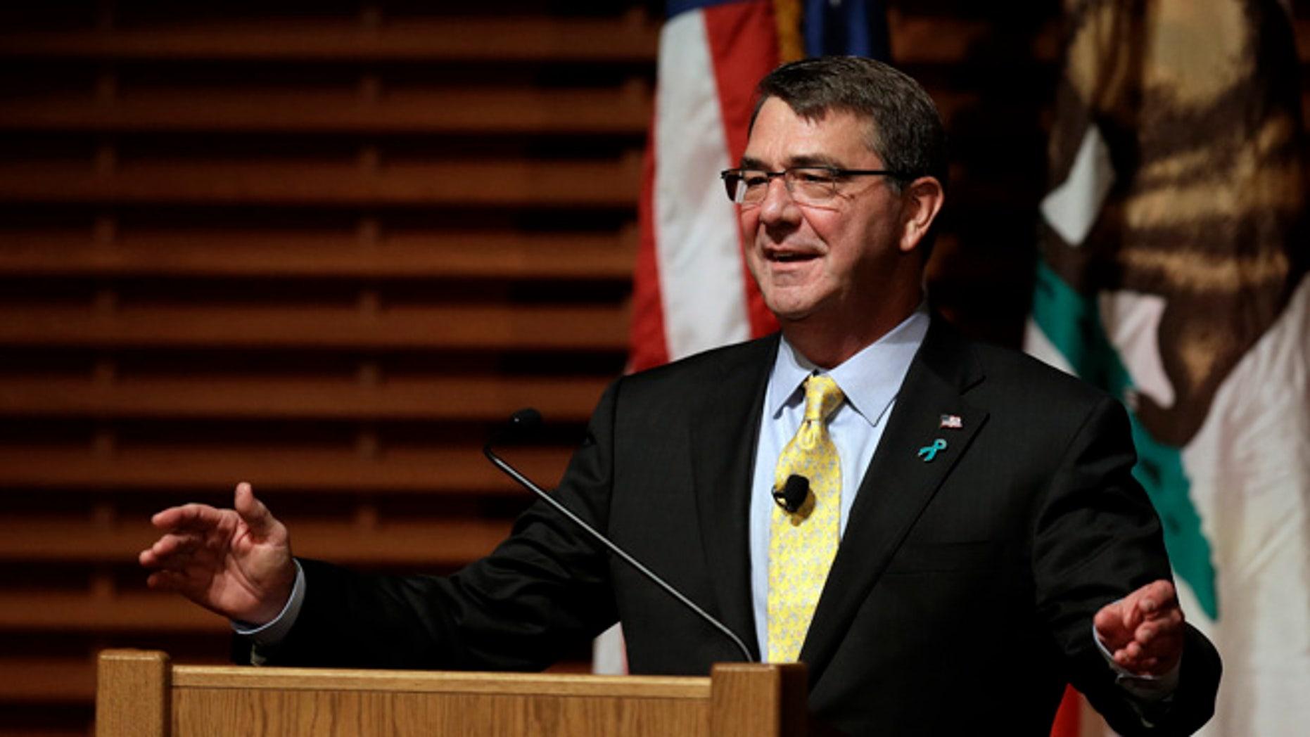 April 23, 2015: Defense Secretary Ash Carter gestures during a speech in Stanford, Calif.