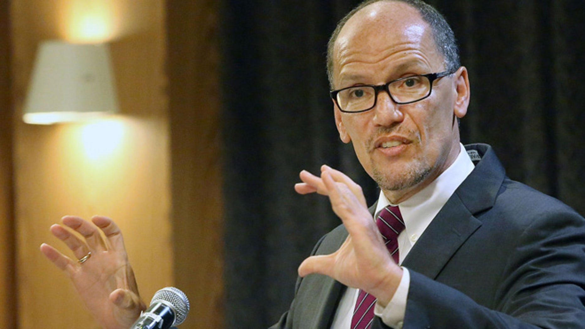 Aug. 18, 2014: Secretary of the U.S. Department of Labor Thomas Perez speaks to business and community leaders at a Los Angeles Area Chamber of Commerce event. (AP)