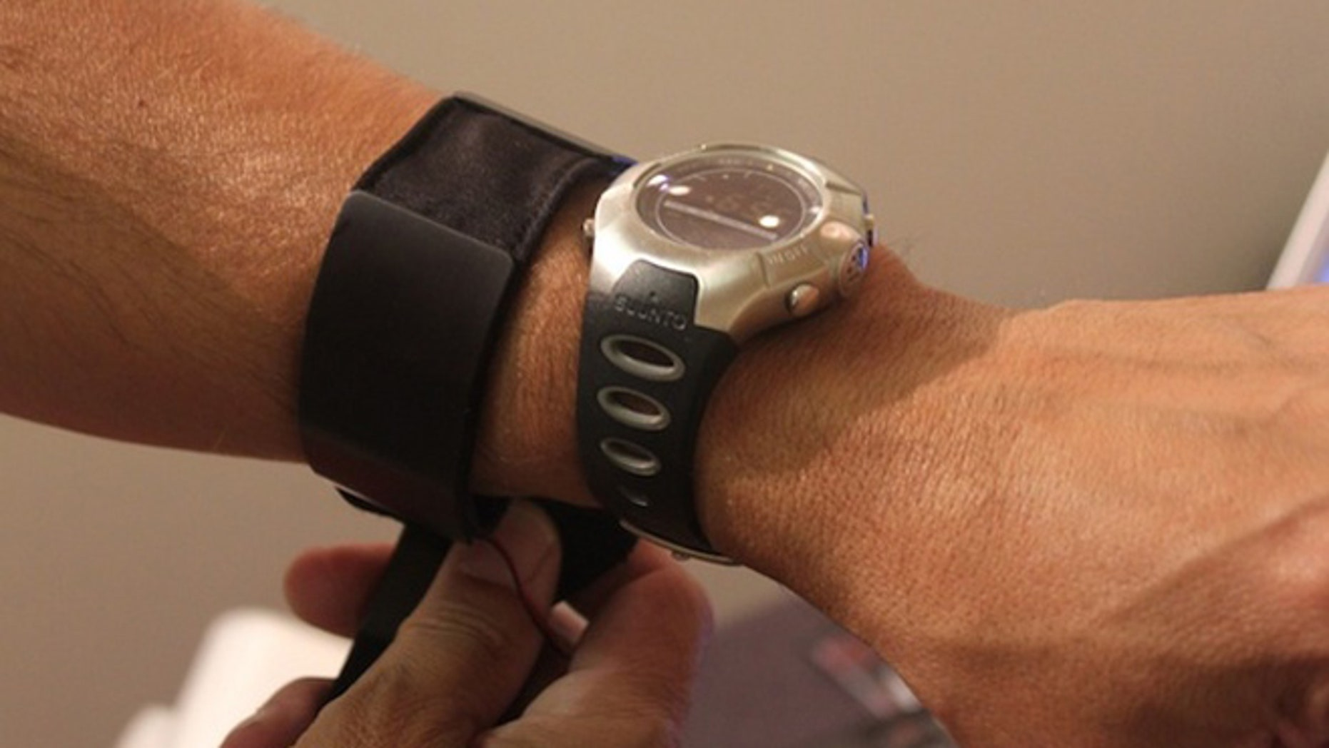 A makeshift armband will one day become a wrist strap that could power this watch.