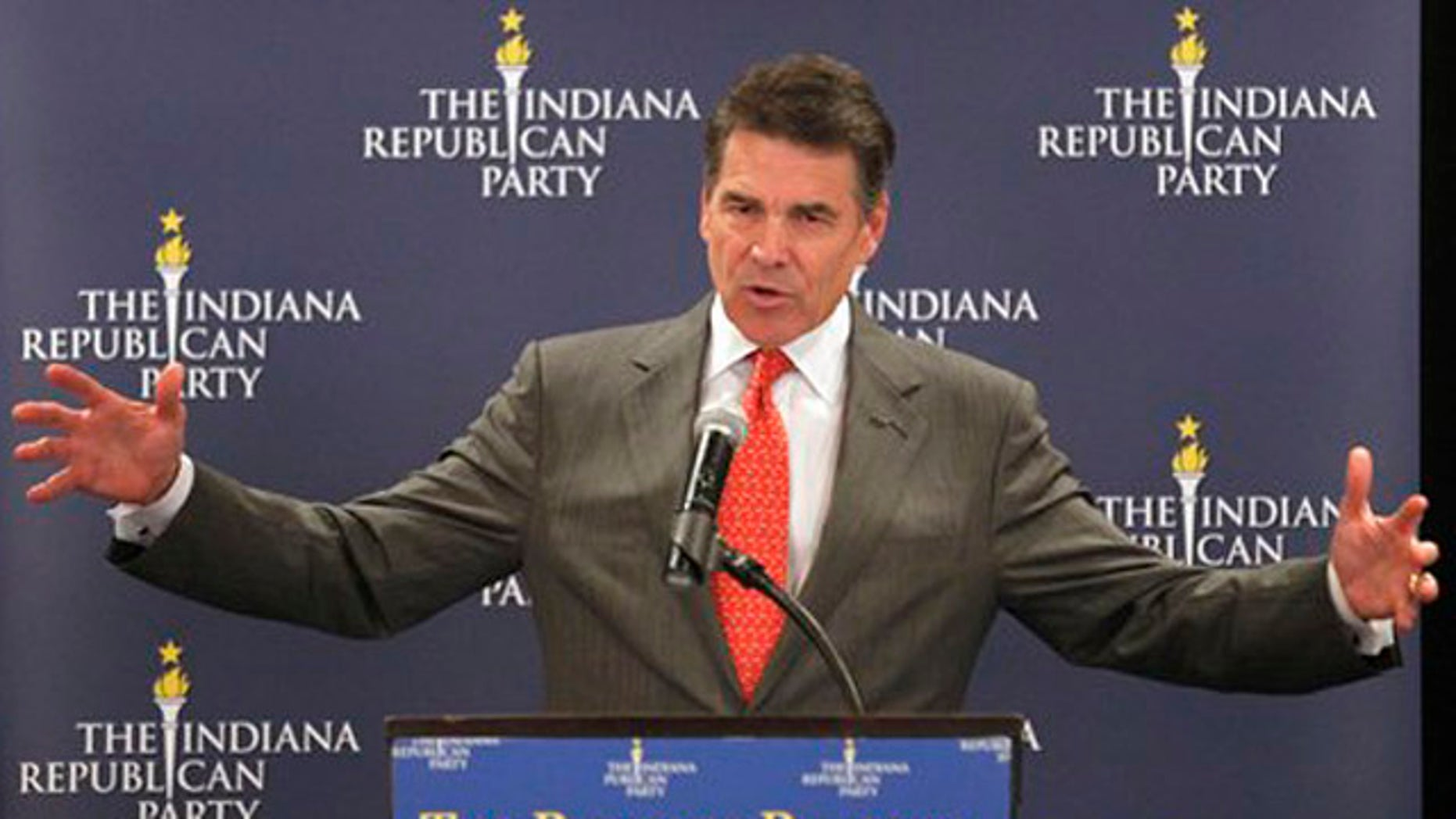 Texas Gov. Rick Perry speaks at a GOP forum in Indianapolis Oct. 12.