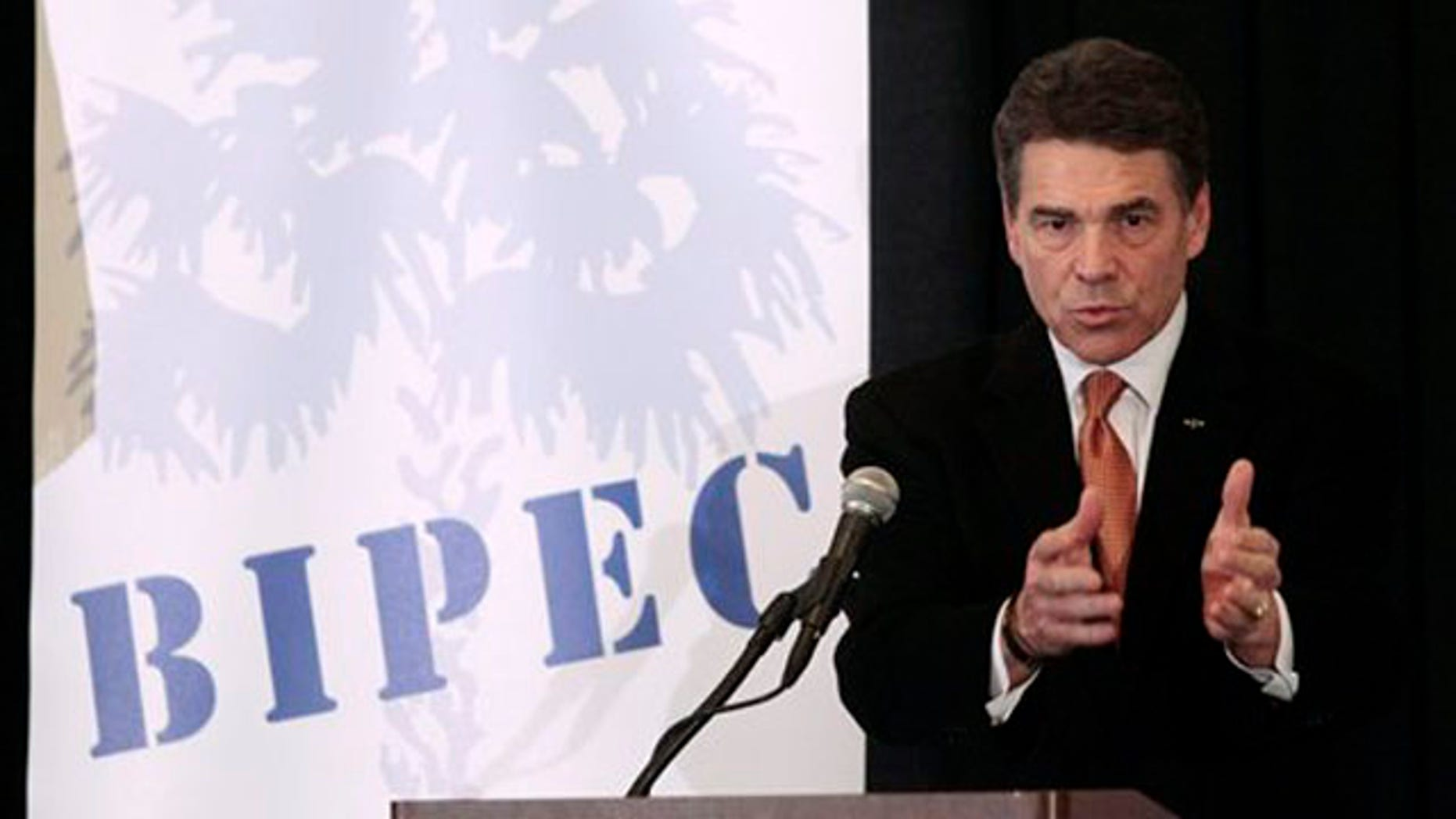 Jan. 17, 2012: Rick Perry speaks at a business and economic forum hosted by the South Carolina Chamber of Commerce in Columbia, S.C.