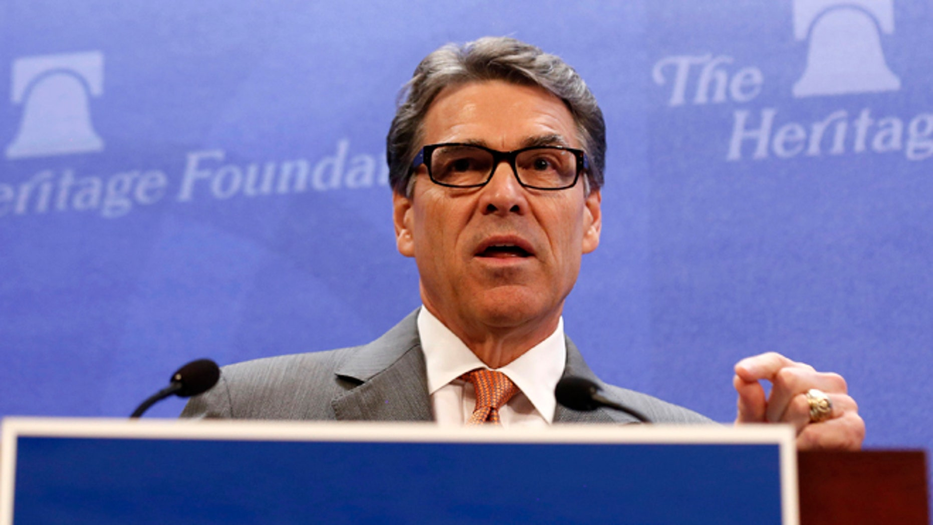 Aug. 21, 2014: Texas Gov. Rick Perry speaks about border security at the Heritage Foundation in Washington.