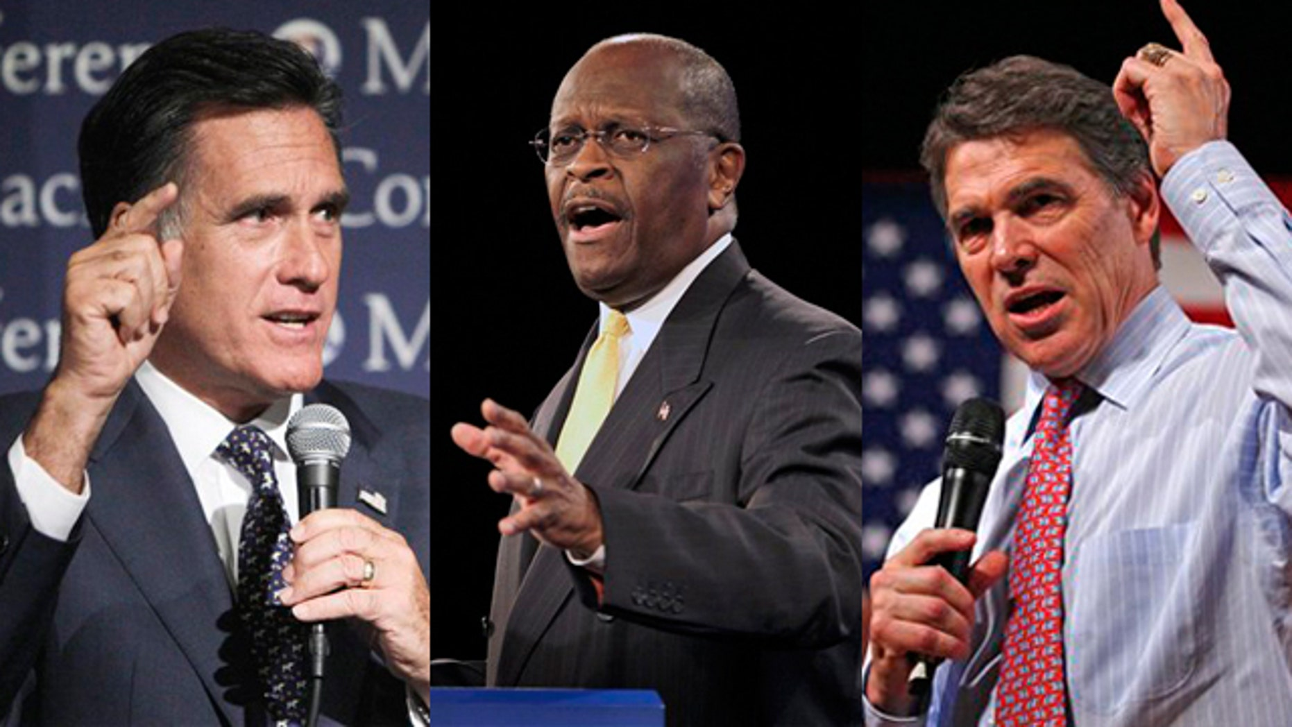 Shown here are former Massachusetts Gov. Mitt Romney, left, businessman Herman Cain, center, and Texas Gov. Rick Perry.