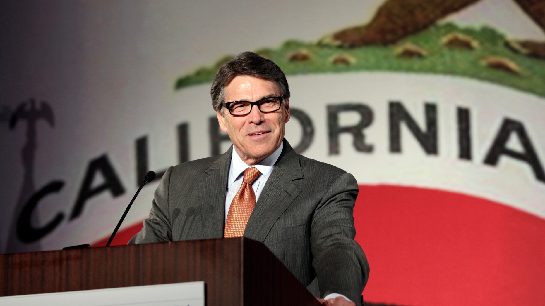 FILE:  Texas Gov. Rick Perry gives the keynote speech at the California Republican Party convention in Anaheim, Calif.