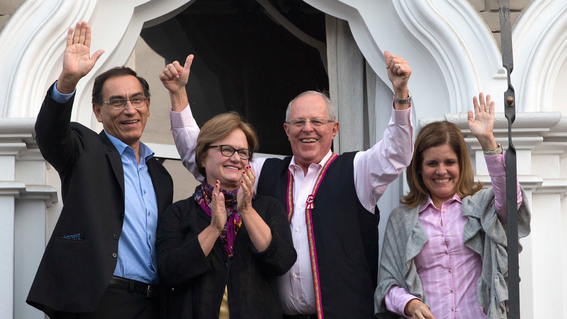 Pedro Pablo Kuczynski and wife Nancy Lange, flanked by his running mates Mercedes Araoz and Martin Vizcarra.