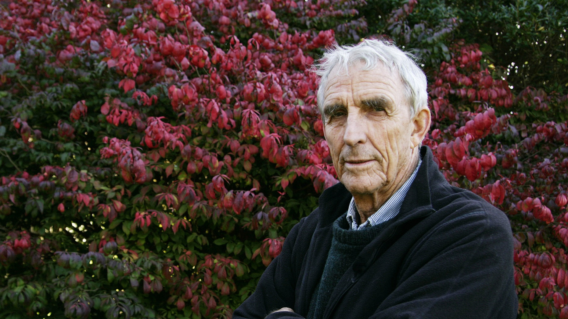 October 28, 2004. Writer Peter Matthiessen stands in the yard of his house in Sagaponack, N.Y.  Matthiessen, award-winning author of more than thirty books, world-renowned naturalist, explorer, Buddhist teacher, and political activist, died Saturday, April 5, 2014 after an illness of some months,according to his publisher Geoff Kloske of Riverhead Books. He was 86.