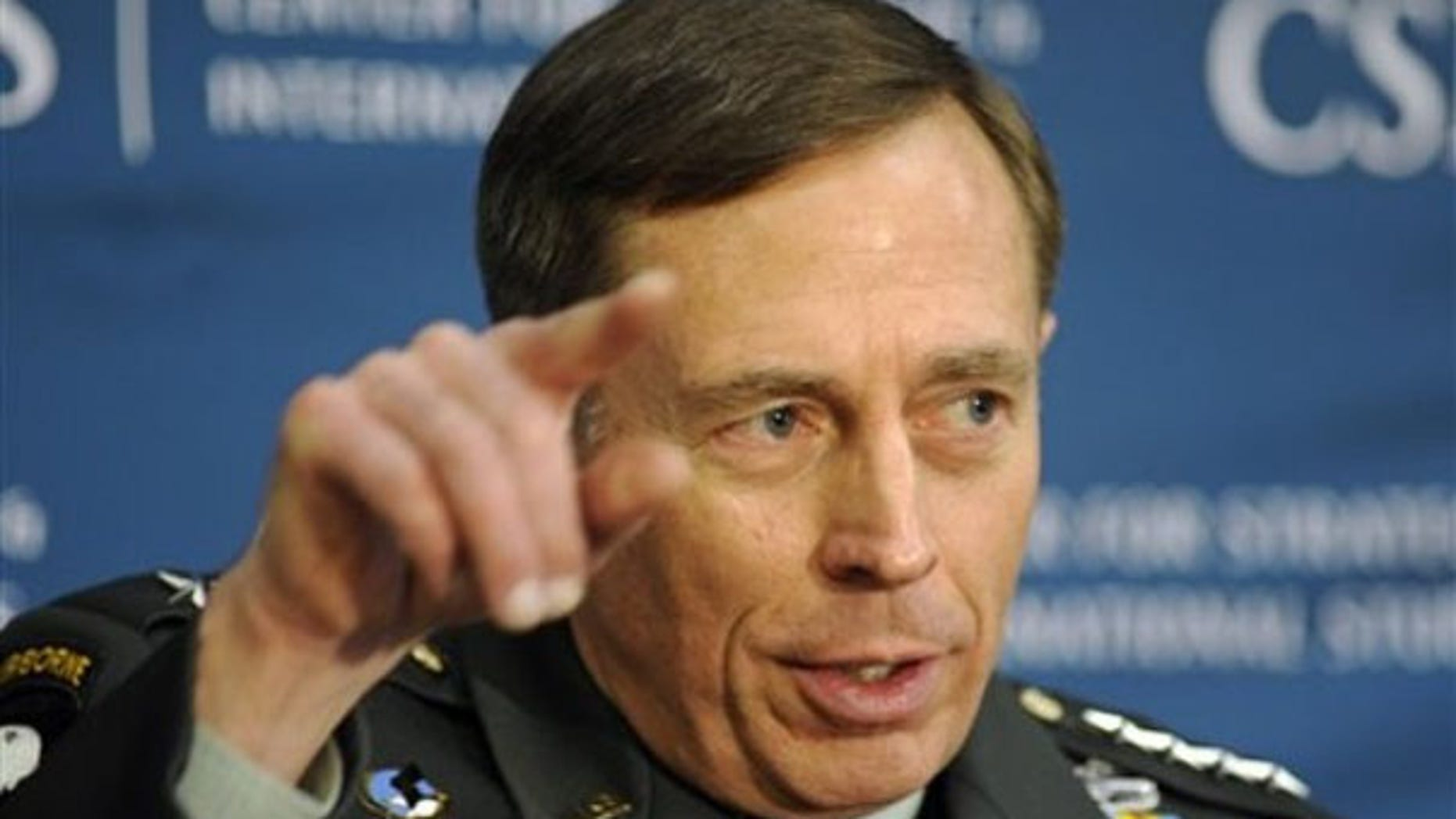 Gen. David Petraeus addresses the Center for Strategic and International Studies in Washington Jan. 21. (AP Photo)