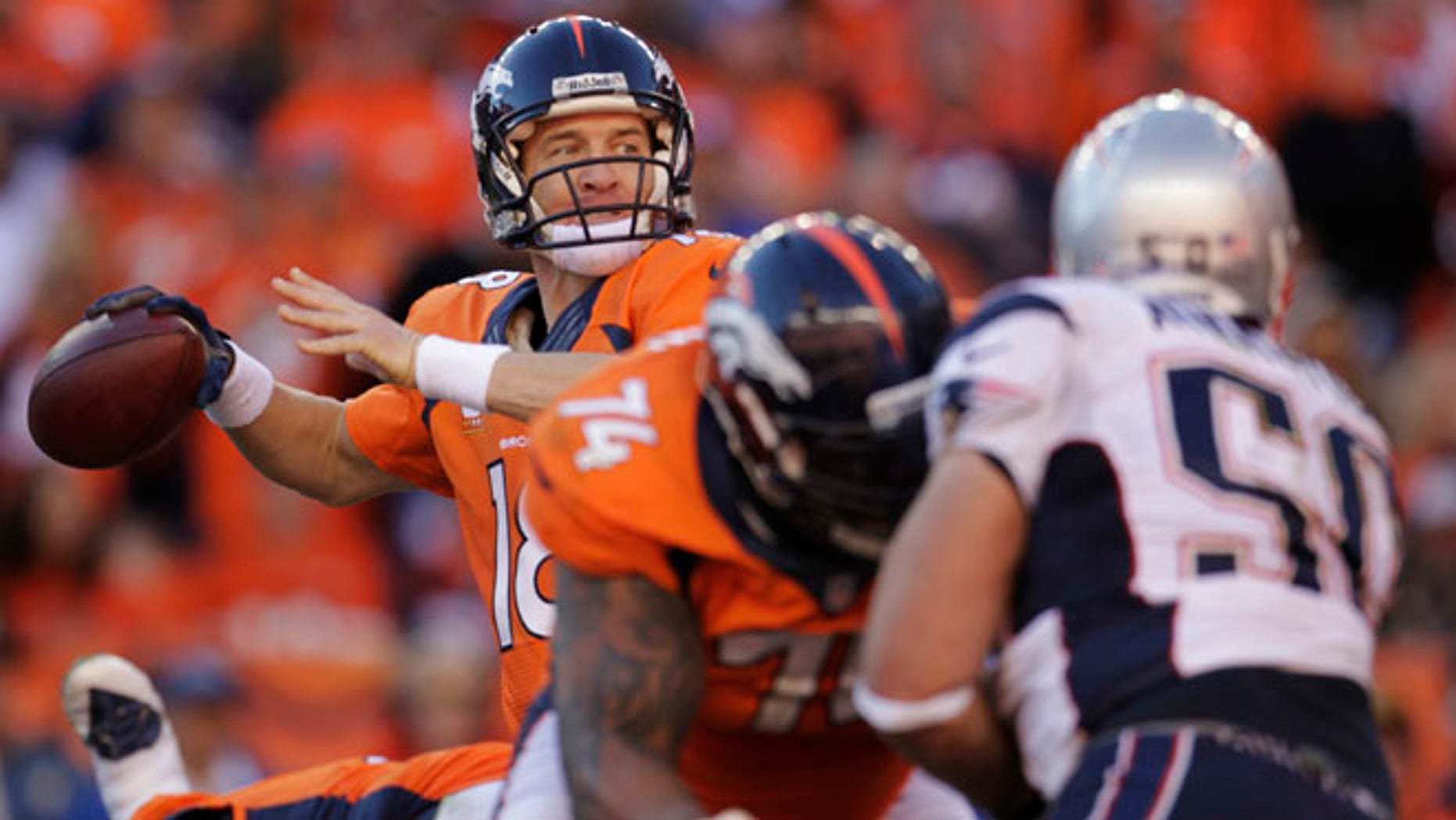 Jan. 19, 2014: Denver Broncos quarterback Peyton Manning (18) passes during the second half of the AFC Championship NFL playoff football game against the New England Patriots in Denver.