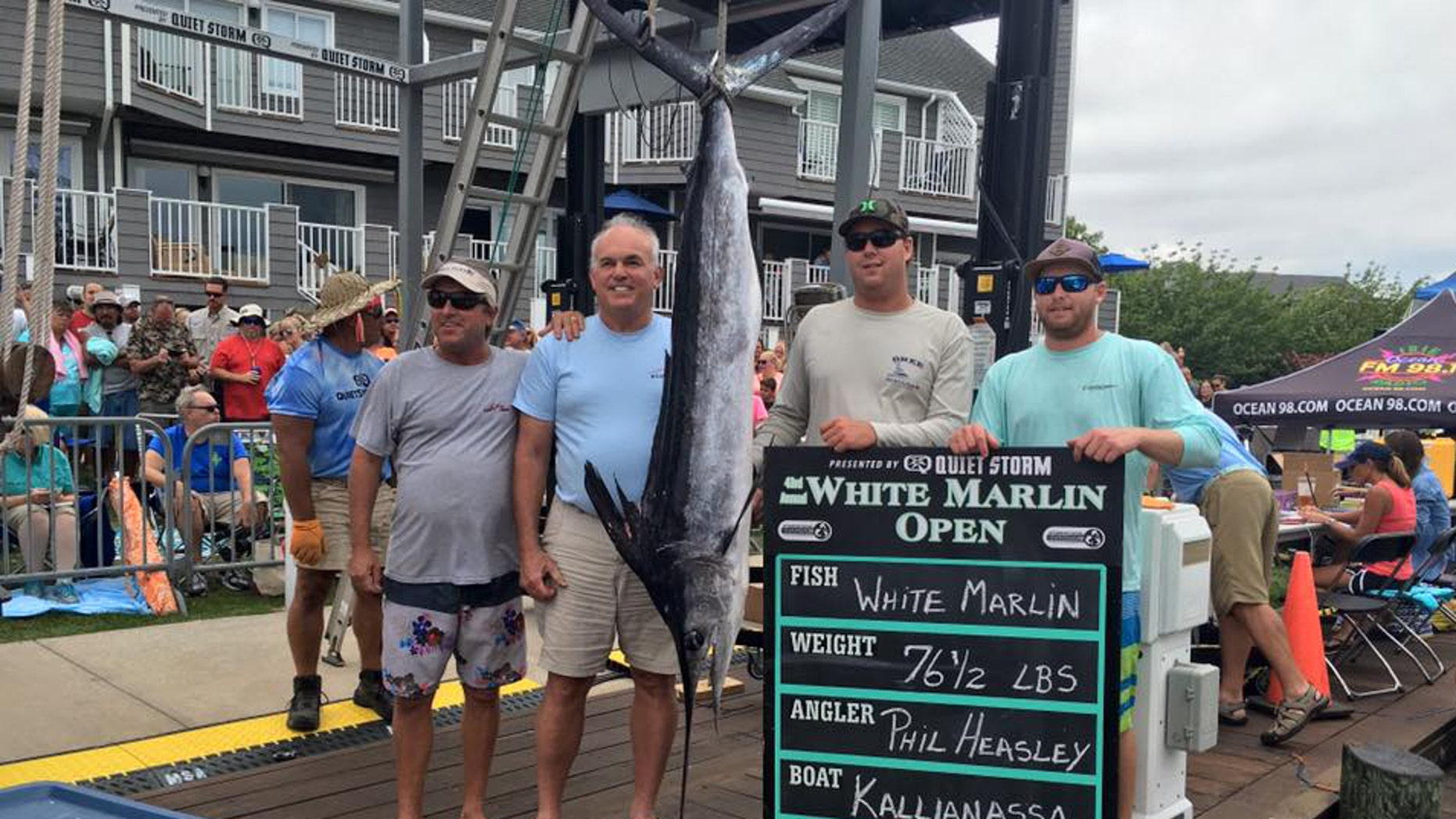 Angle Philip Heasley of Florida with winning 76.5-pound white marlin catch in the White Marlin Open. (White Marlin Open)