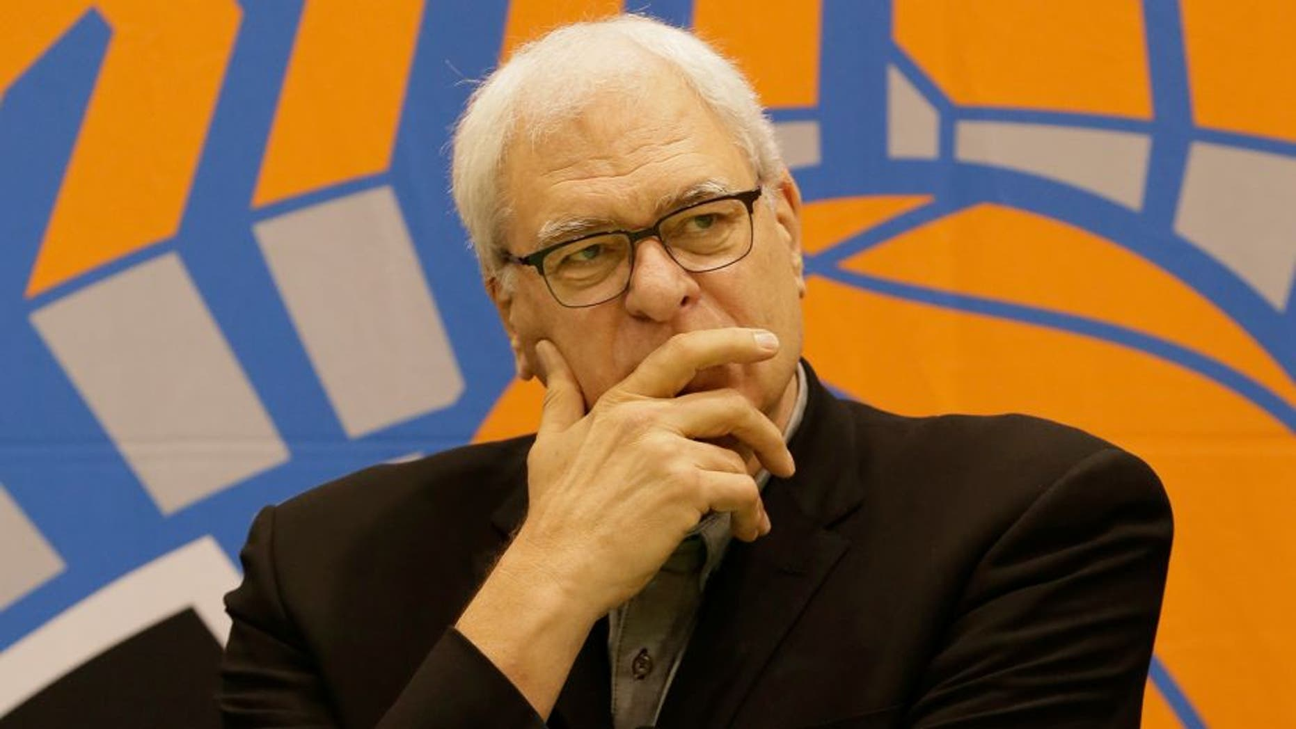 TARRYTOWN, NY - JUNE 26: New York Knicks President Phil Jackson speaks to the media at the Madison Square Garden Training Facility on June 26, 2015 in Tarrytown, New York. NOTE TO USER: User expressly acknowledges and agrees that, by downloading and or using this photograph, User is consenting to the terms and conditions of the Getty Images License Agreement. Mandatory Copyright Notice: Copyright 2015 NBAE (Photo by Steven Freeman/NBAE via Getty Images)