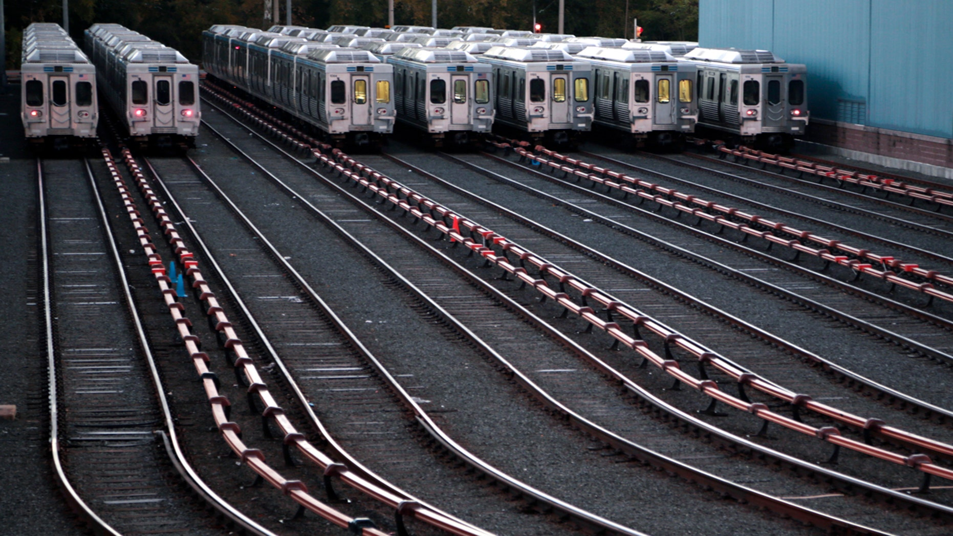 Market-Frankford line trains remain idle at a Southeastern Pennsylvania Transportation Authority (SEPTA) station Tuesday, Nov. 1, 2016 in Upper Darby, Pa., just outside Philadelphia,