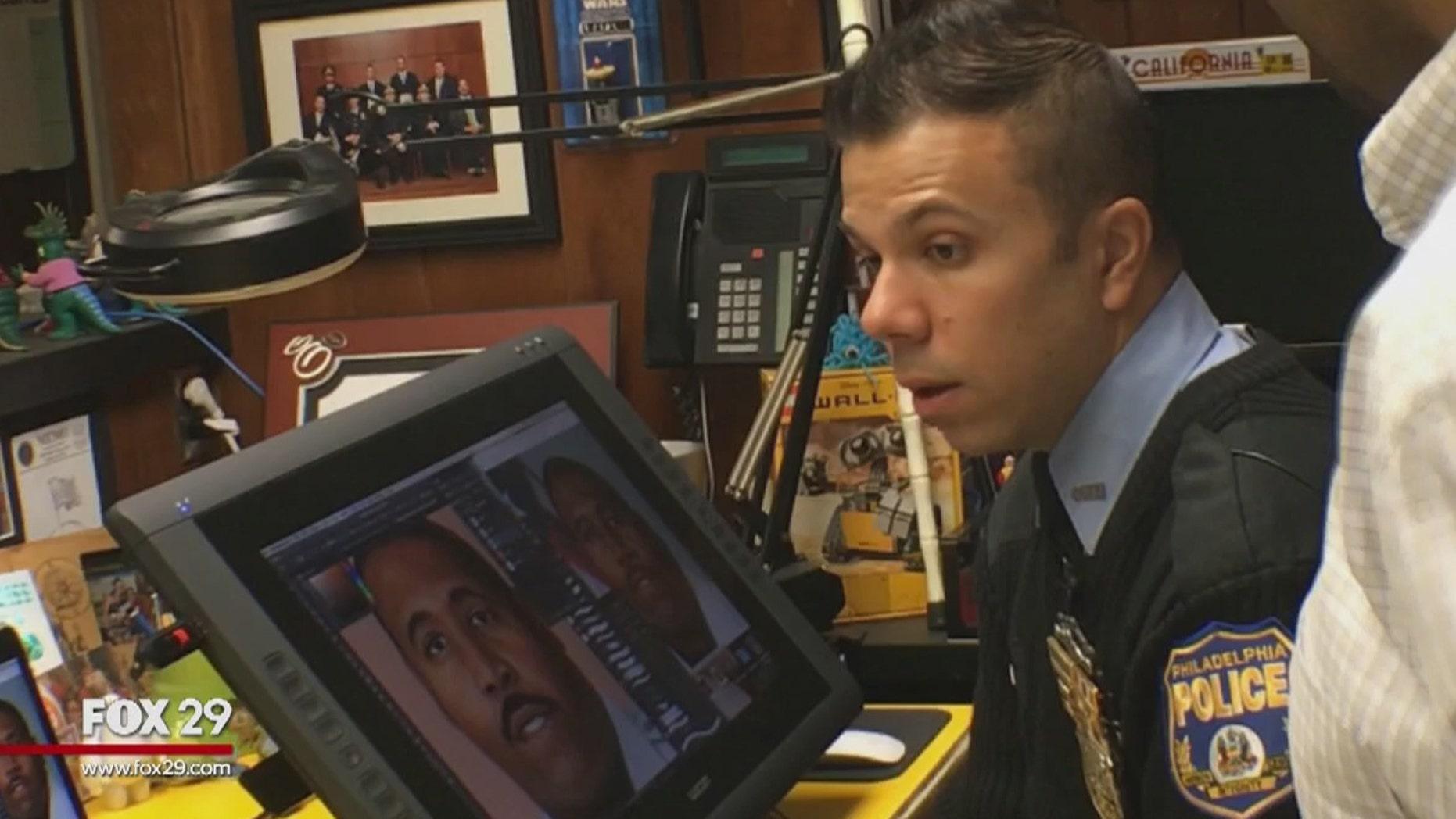 Philadelphia Officer Jonny Castro draws portraits of fallen officers in their honor.