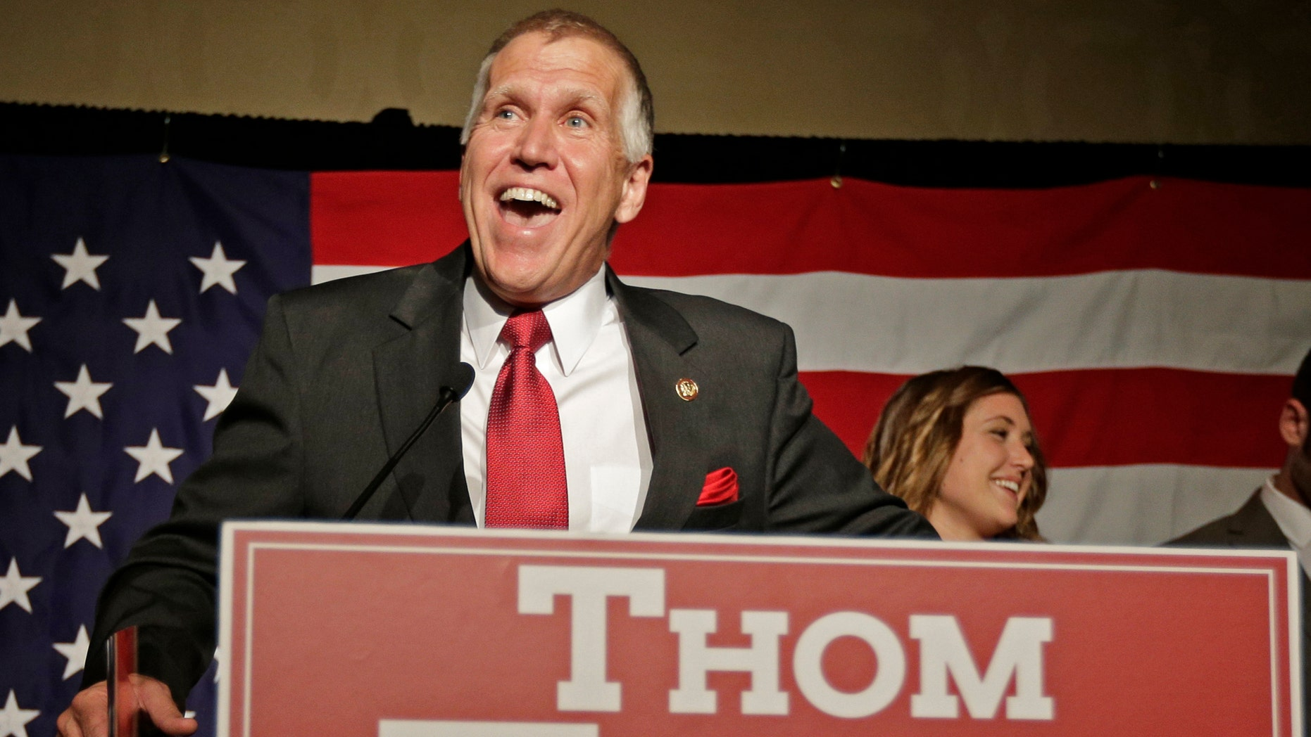Thom Tillis after winning the Republican nomination for the U.S. Senate Tuesday, May 6, 2014.