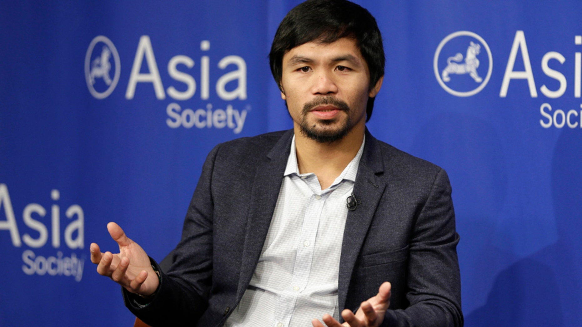 Oct. 12, 2015: Manny Pacquiao takes questions at the Asia Society in New York.