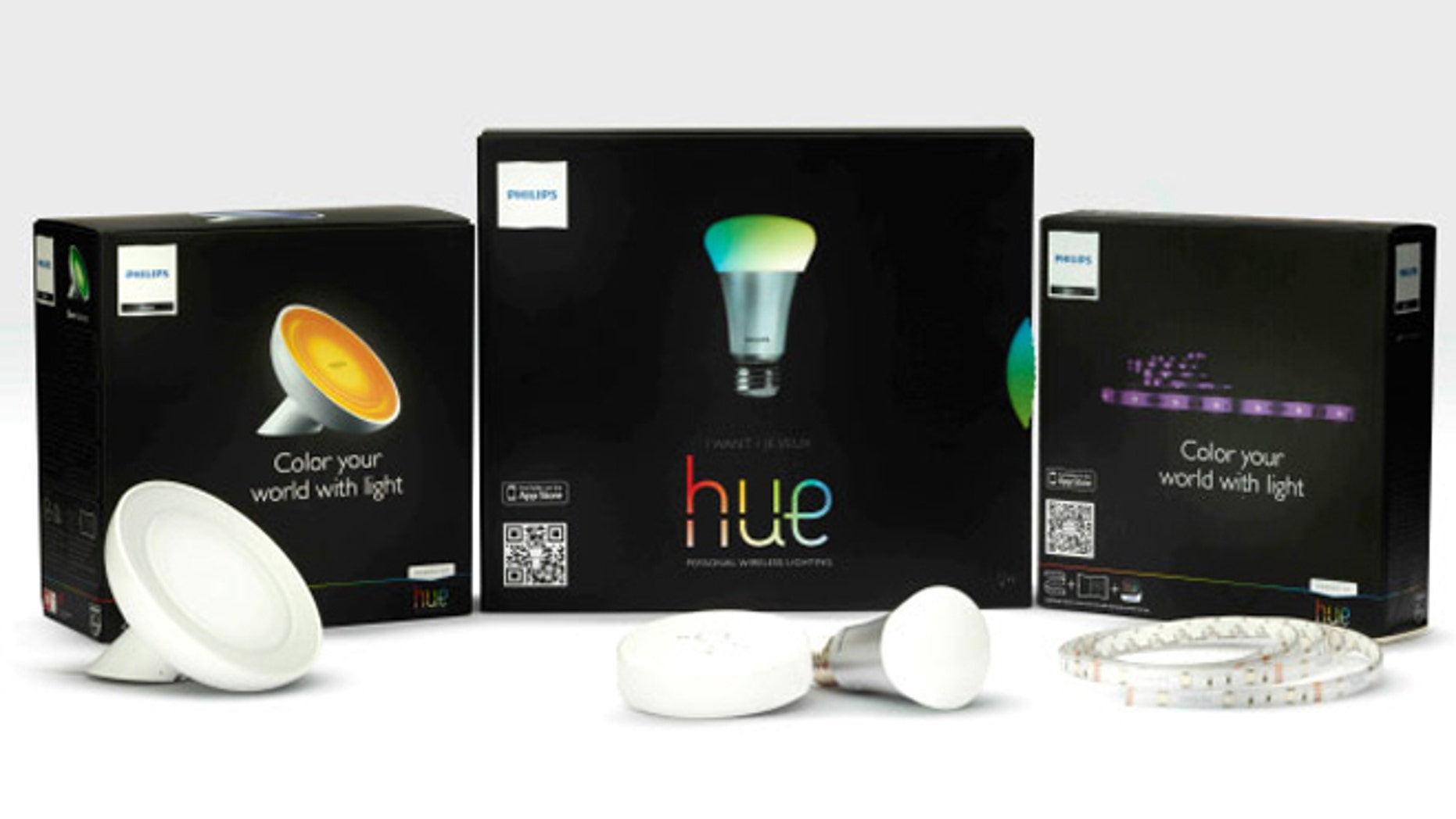 The Philips Hue, a line of tunable LED lightbulbs that can be controlled via smartphone.