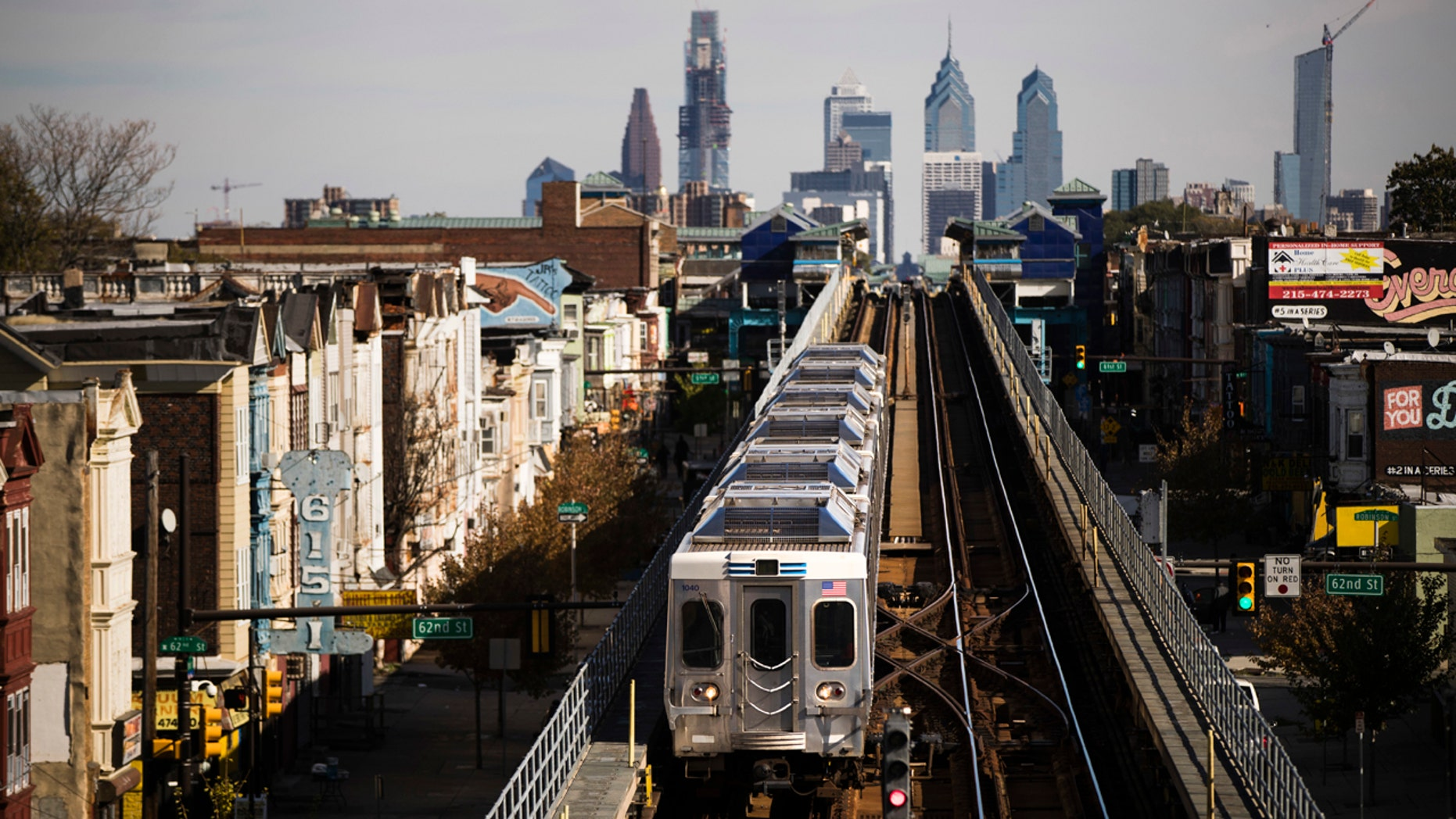 A train moves along the Market-Frankford Line in Philadelphia, Wednesday, Oct. 26, 2016.