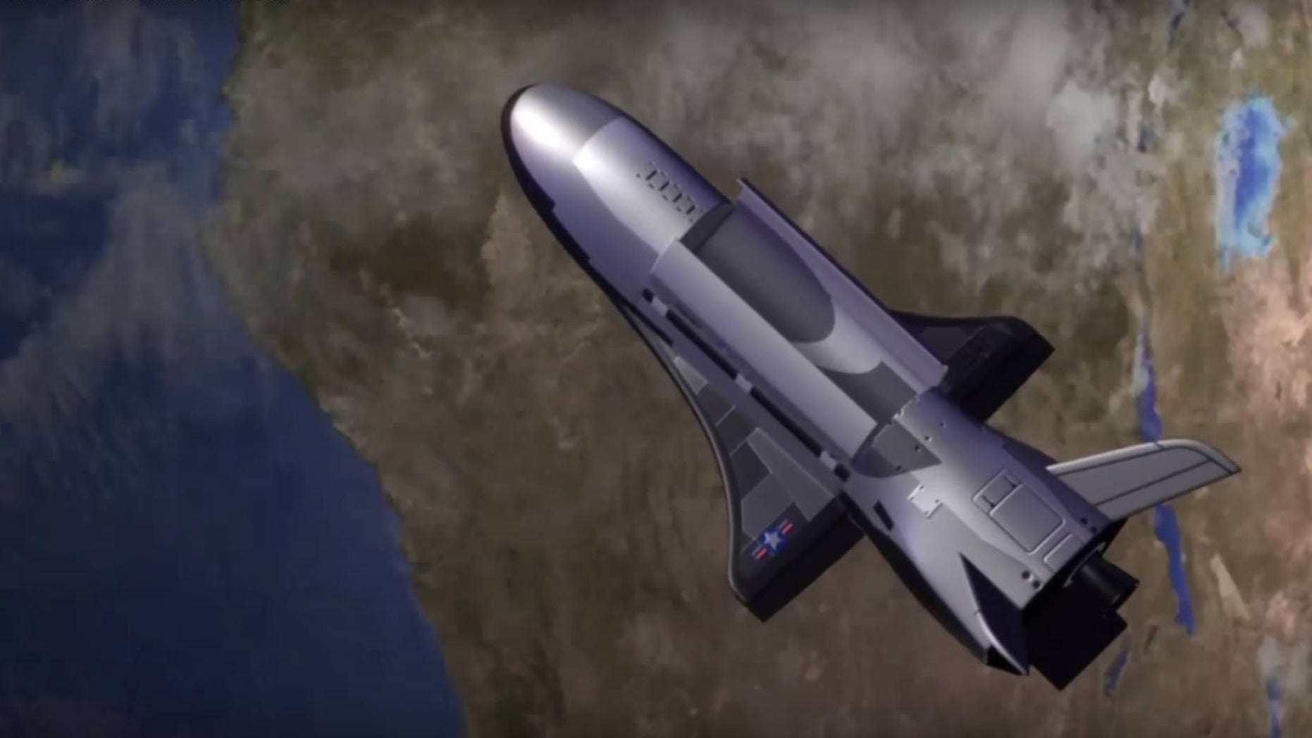 Artist's illustration of the U.S. Air Force's X-37B space plane in Earth orbit. One of the vehicles just soared past 200 days in its latest mission, in which it is carrying out classified duties.