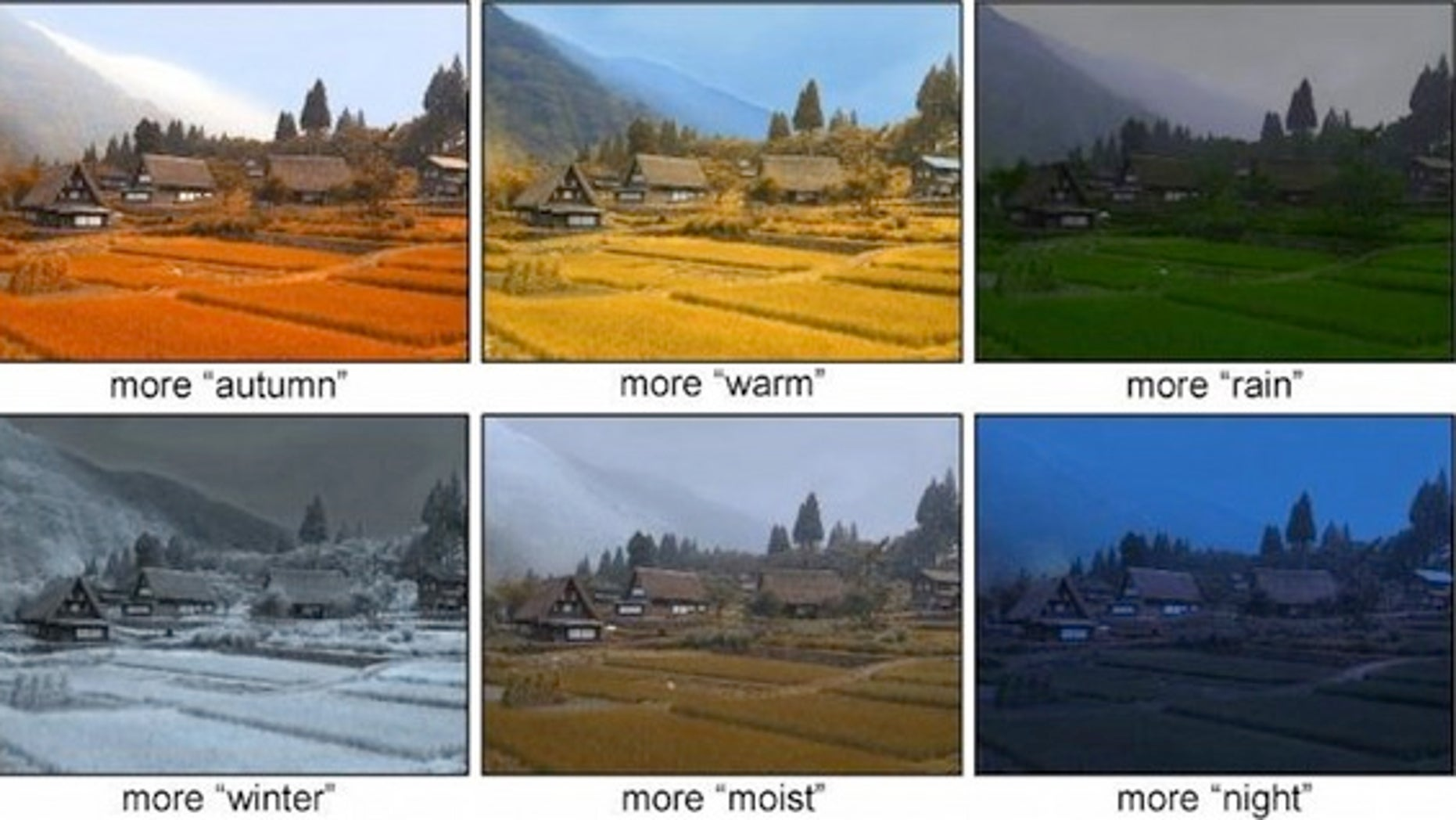 A new photo-editing algorithm lets people change features including weather, time of day and the season.