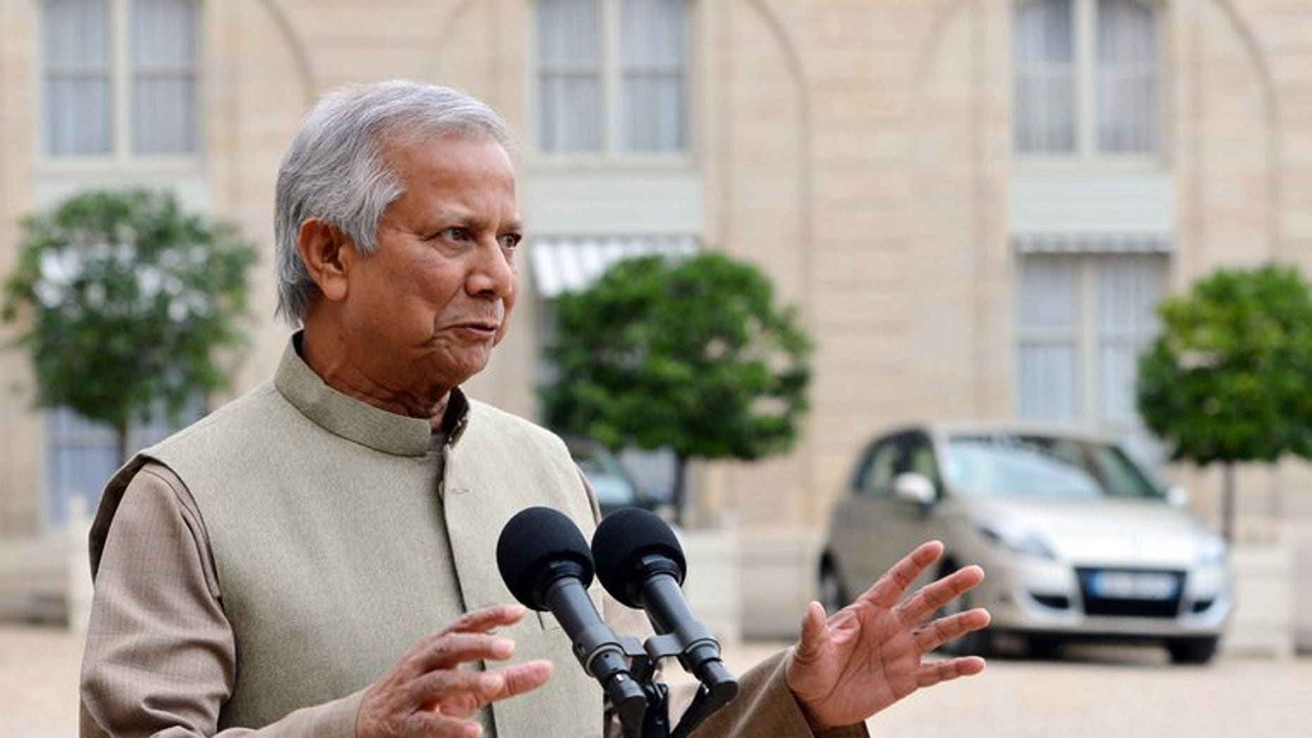 Grameen Bank founder Muhammad Yunus speaks to the press at the Elysee Palace in Paris, last October. Bangladesh's pioneering microlender faces an uncertain future after a commission proposed the government take over or break up the Nobel-award-winning bank, analysts said Tuesday.